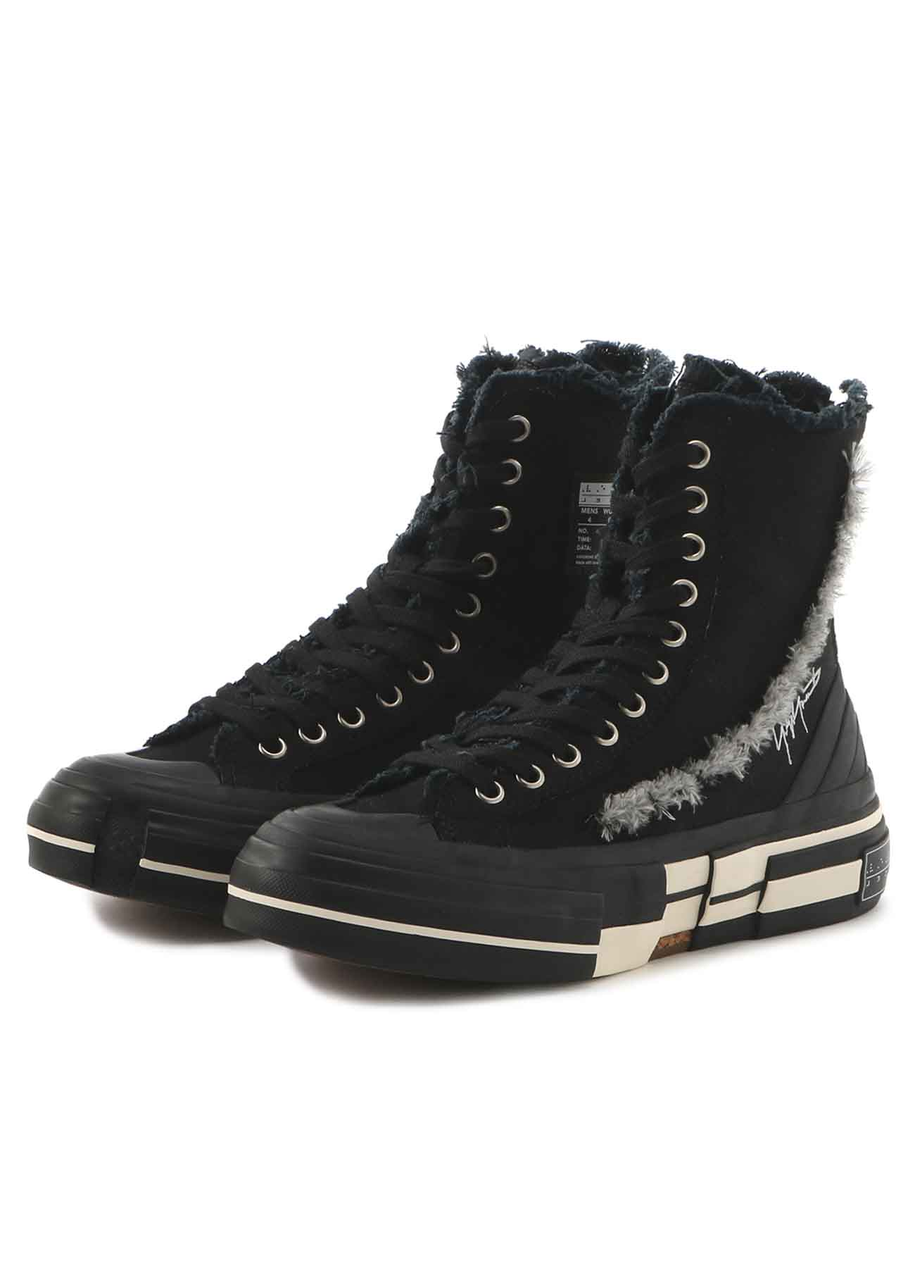 W/GABARDINE BK SLASH HIGH TOP SNEAKERS BK