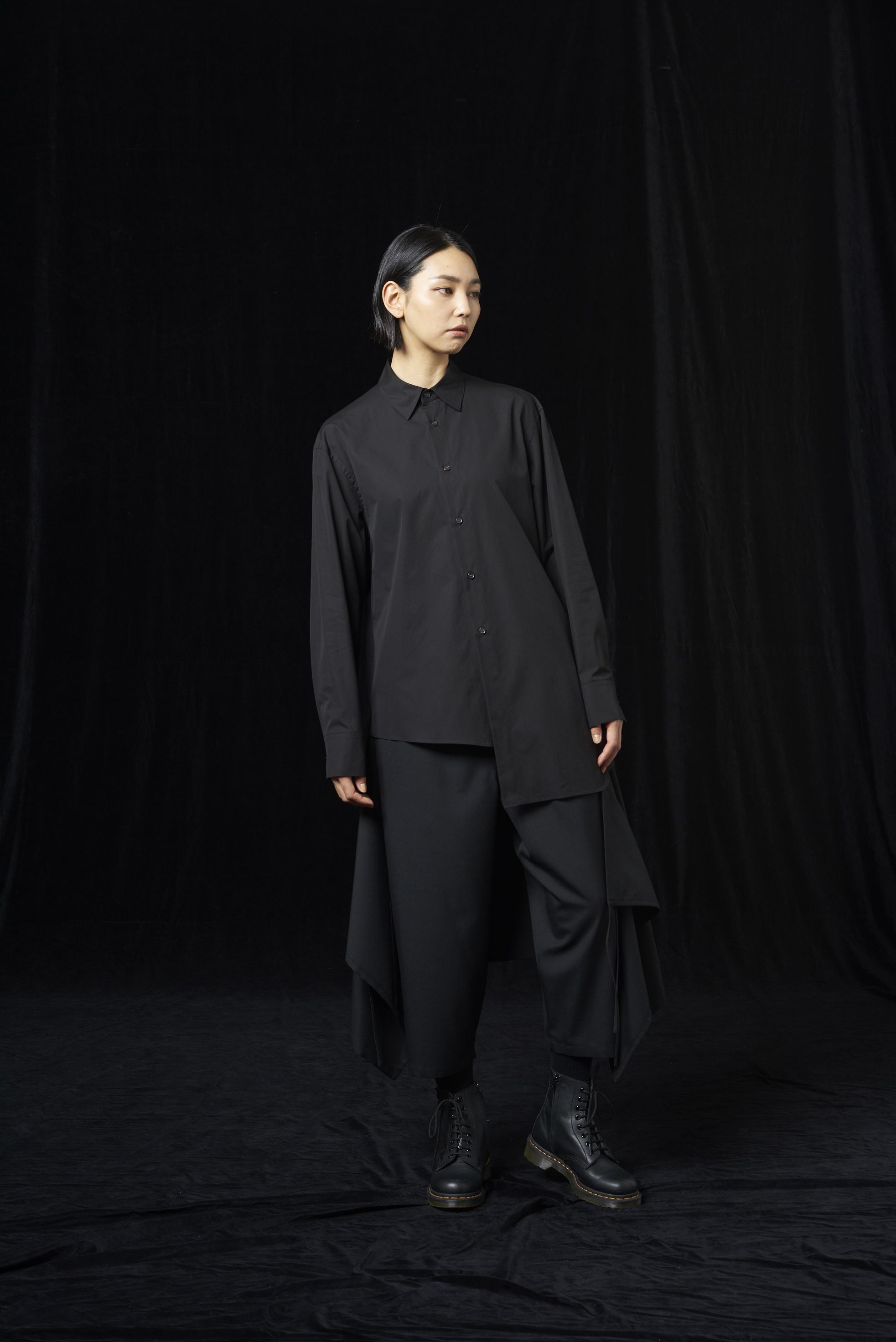 100/2 cotton broad Asymmetry Shirt