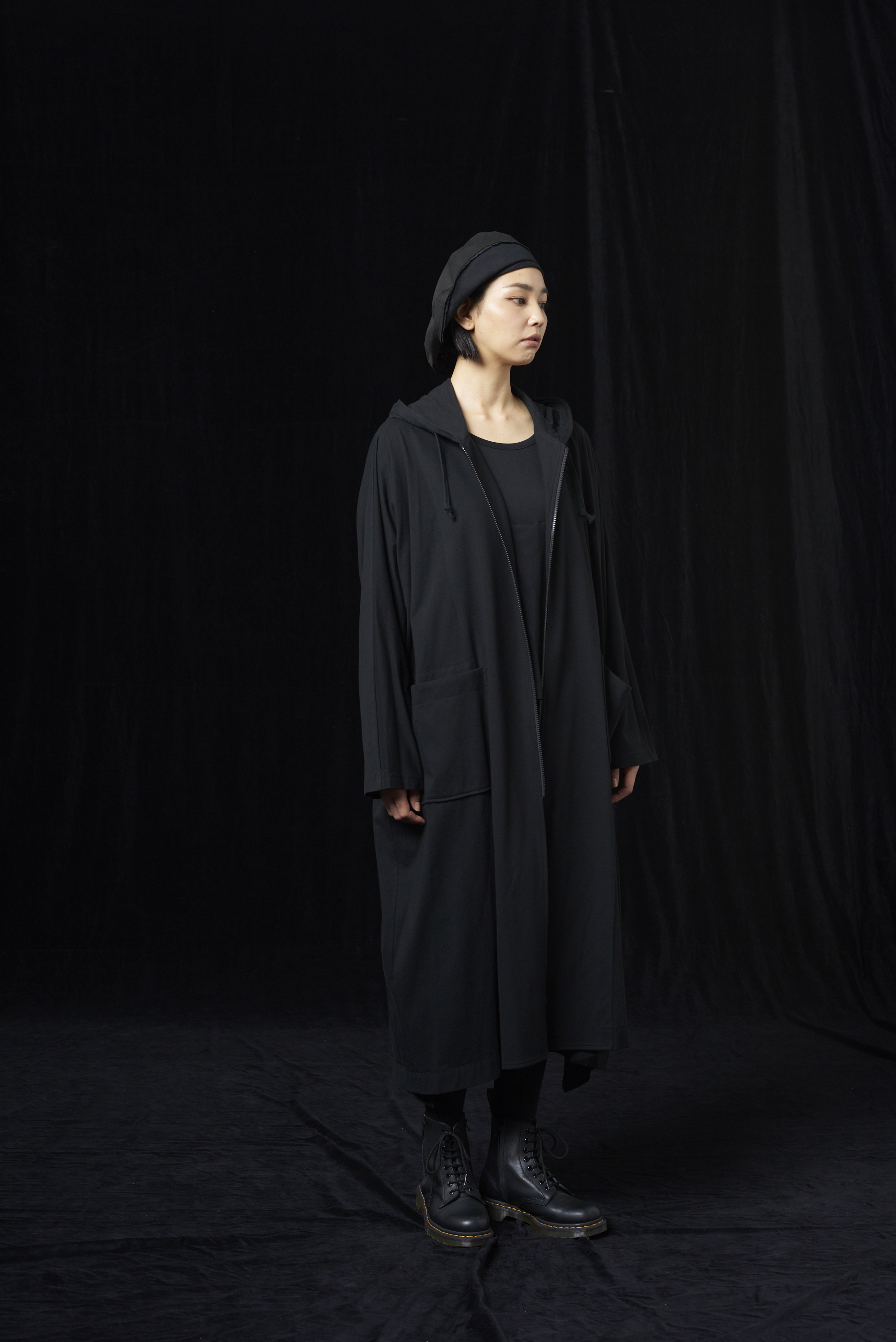 30/cotton Jersey Hooded Big Dress Cardigan