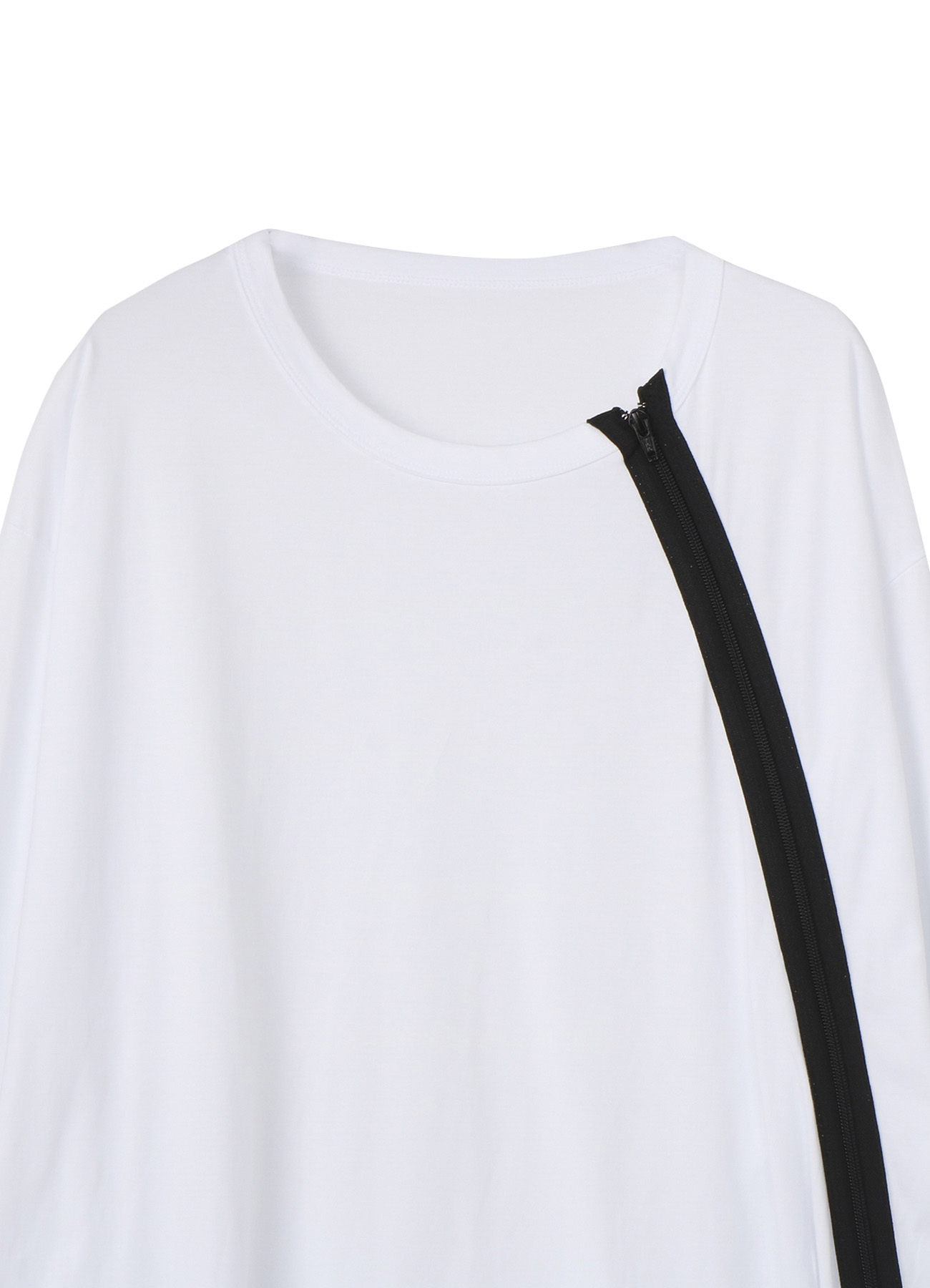 30/cotton Jersey Shoulders Zipper Short Sleeve T