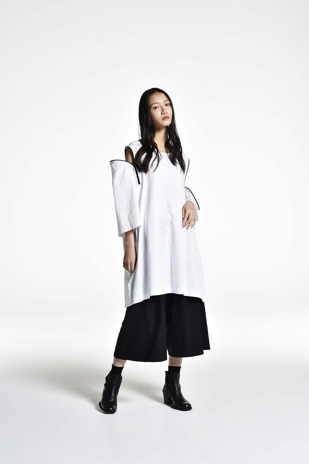 30/cotton Jersey Diagonal Zipper Long Sleeve T