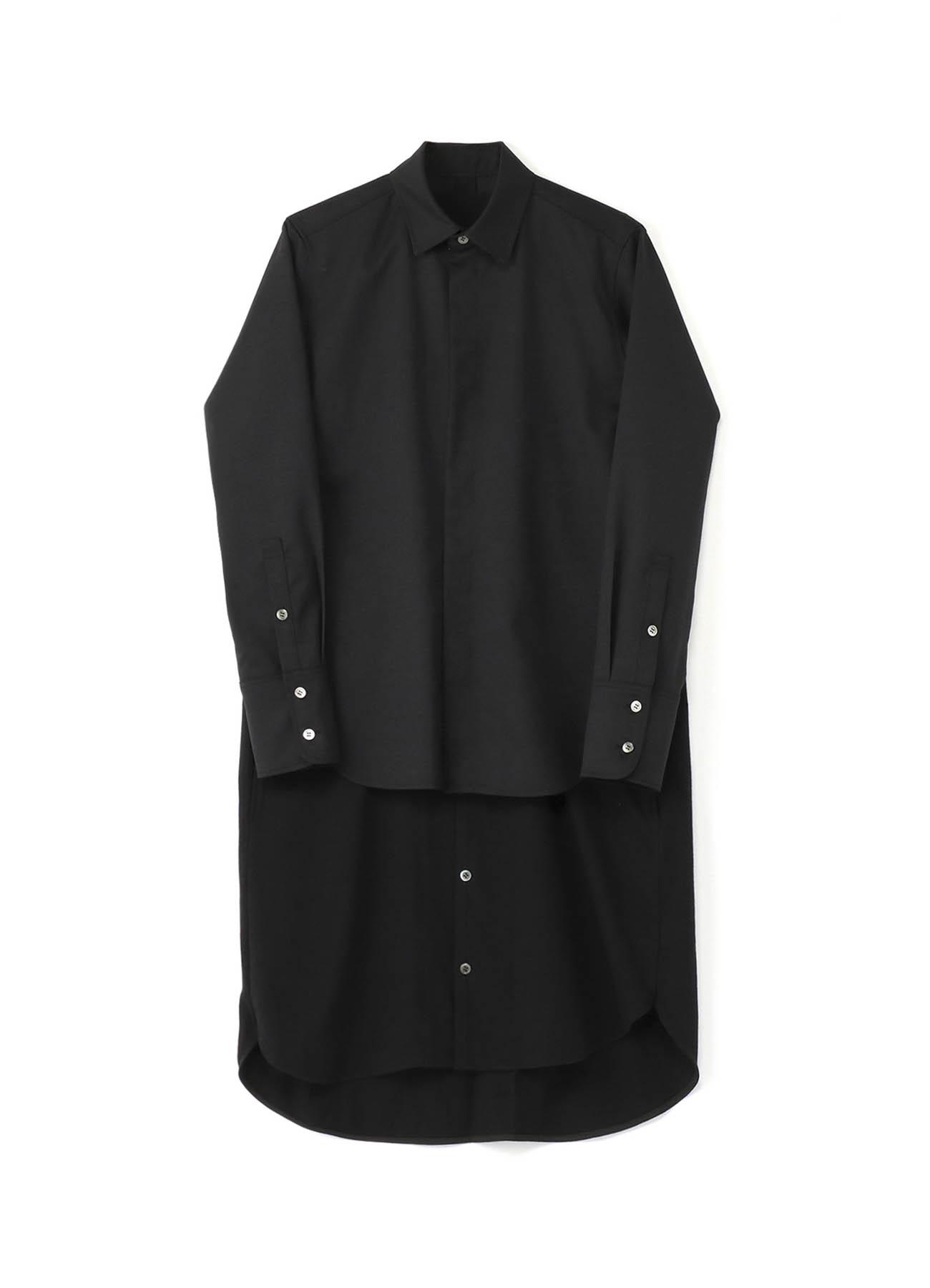 羊毛哔叽 &棉质平纹针织分层衬衫连衣裙