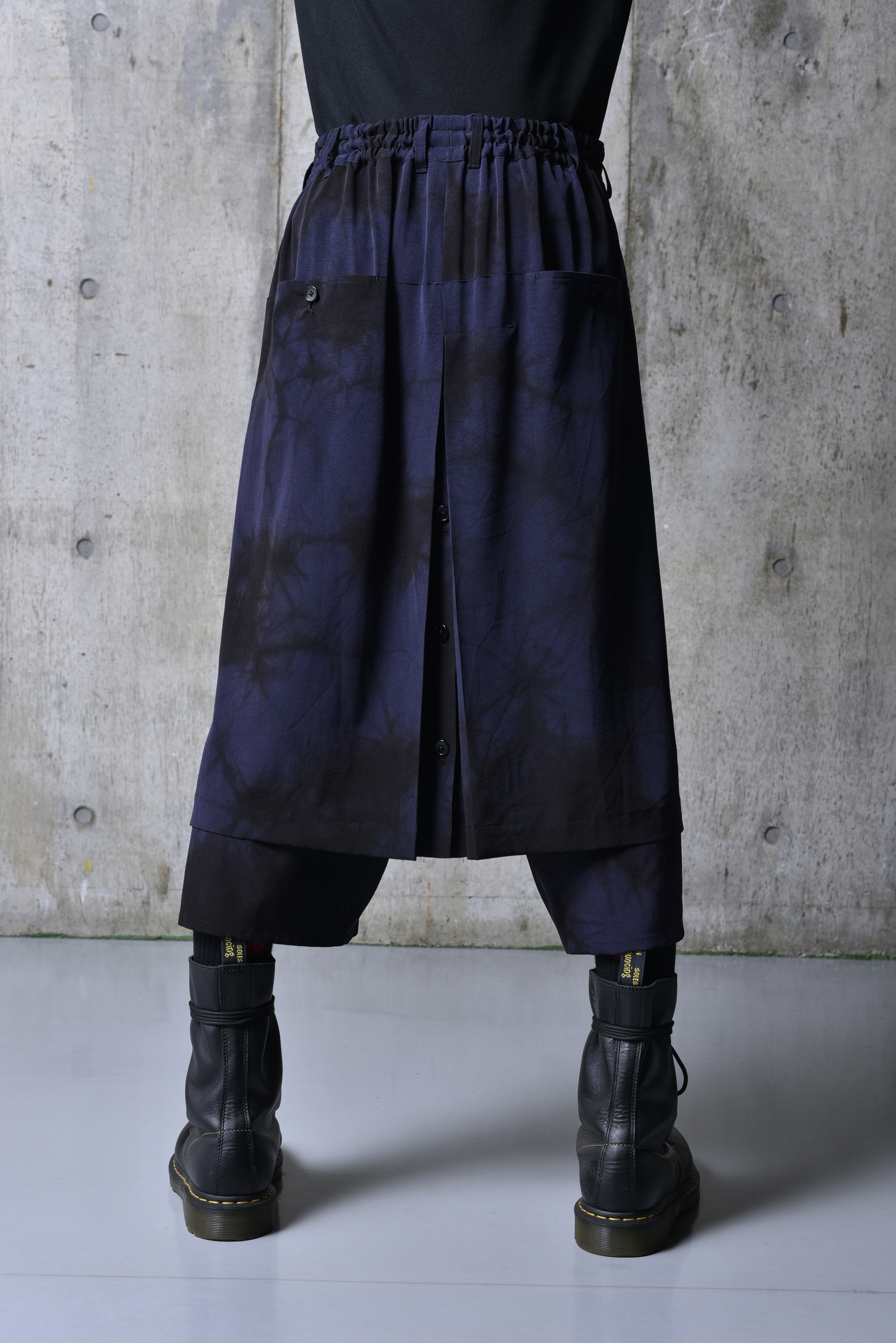T/A Vintage Decyne Uneven Dyeing Wrap Skirt Pants Type1