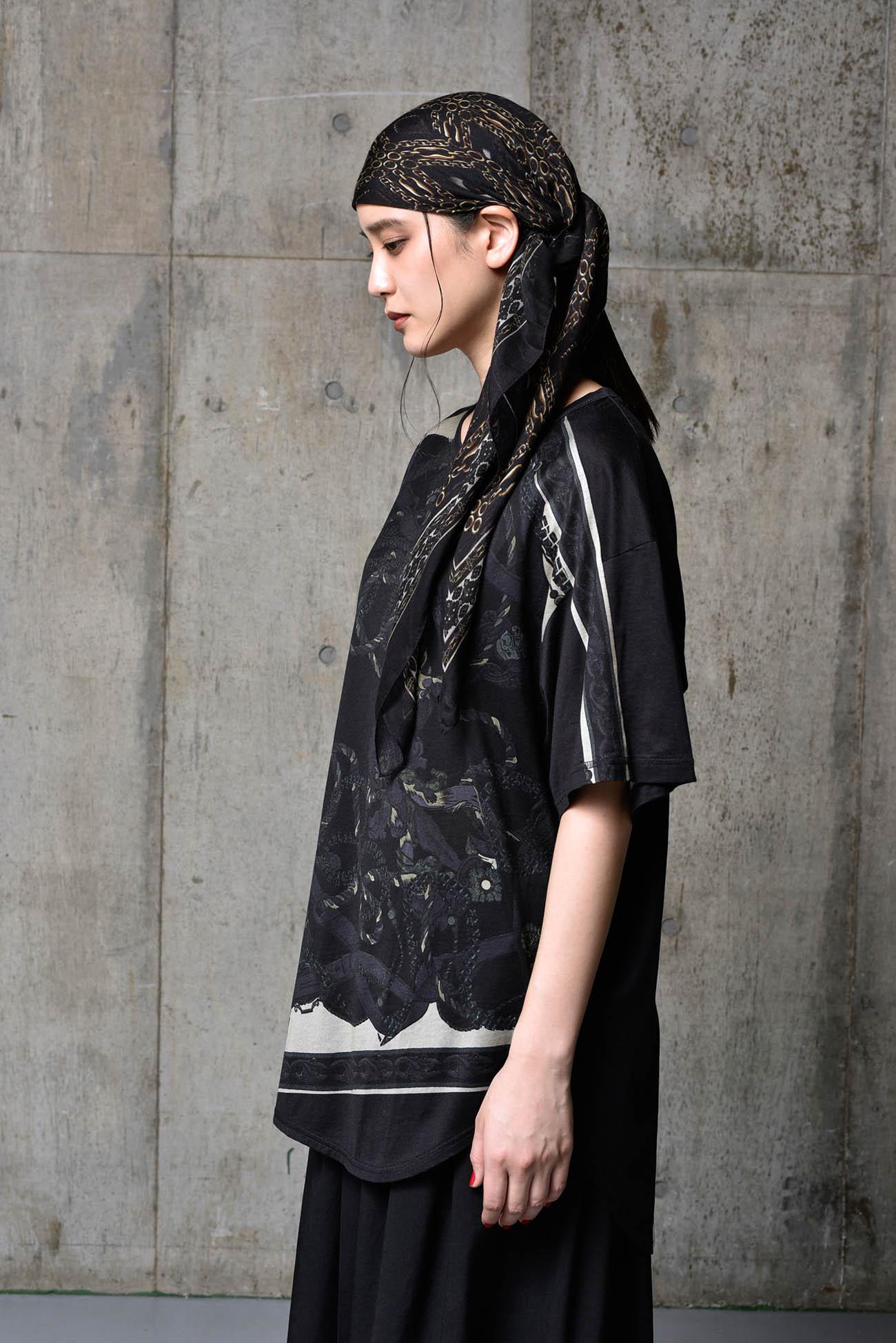 Bandana Pattern B Cotton Jersey Round Short Sleeves Cut Sew