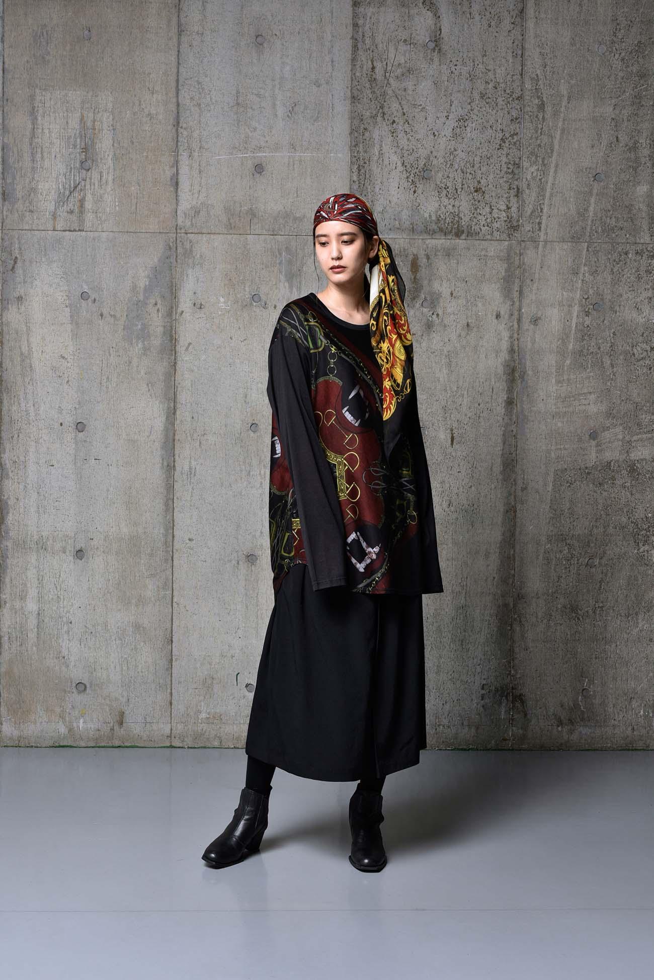 Bandana Pattern A Cotton Jersey Round Long Sleeves Cut Sew