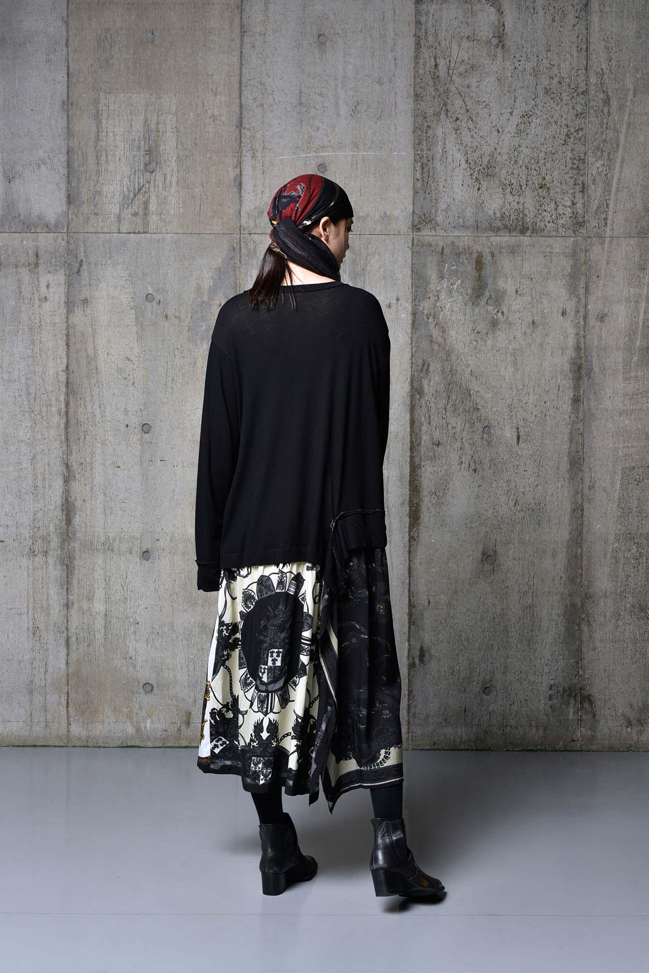 Bandana Pattern H Cotton Jersey Switching Dress