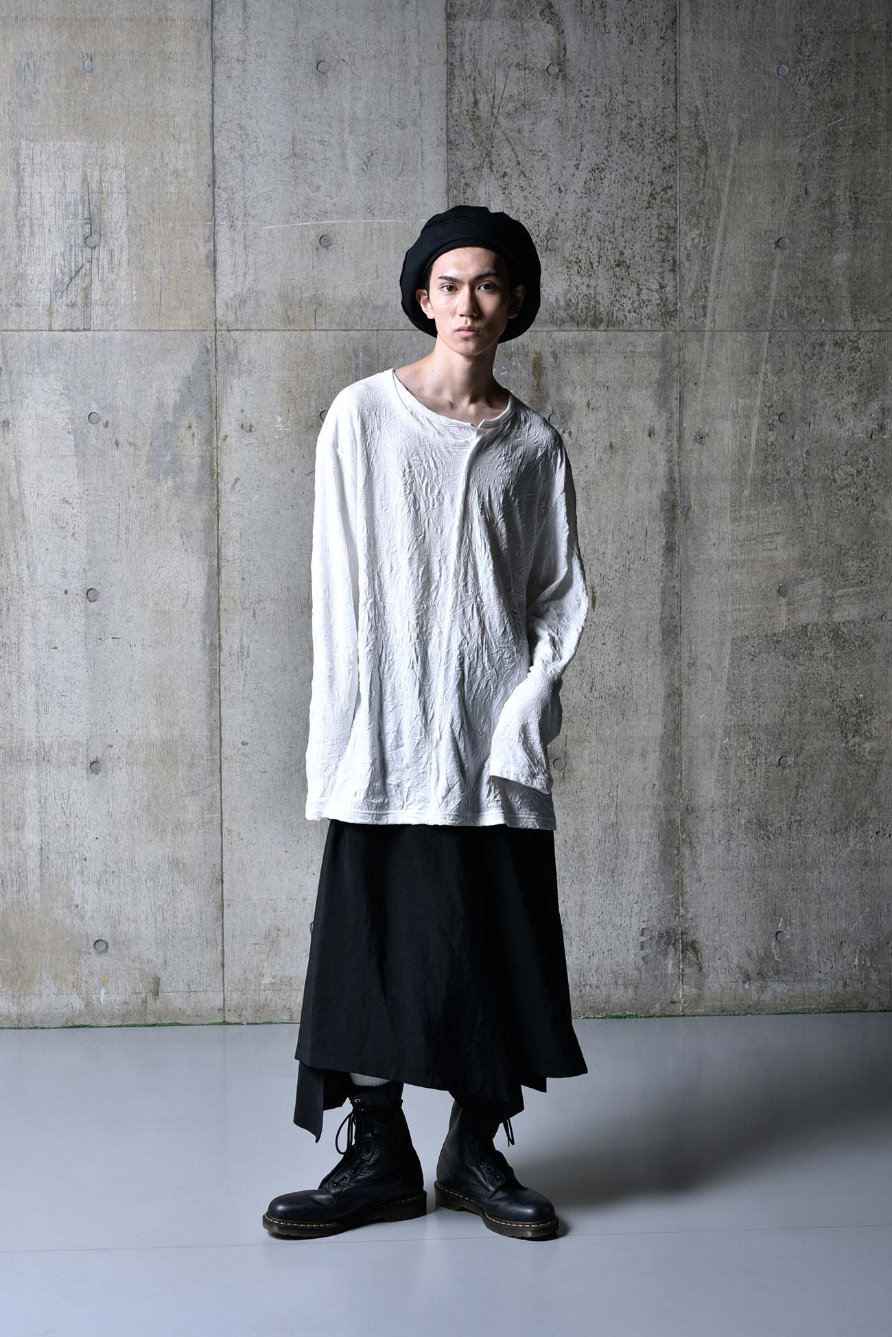 C/Pe Washer Jersey Collar Deformed Long Sleeves Cut Sew