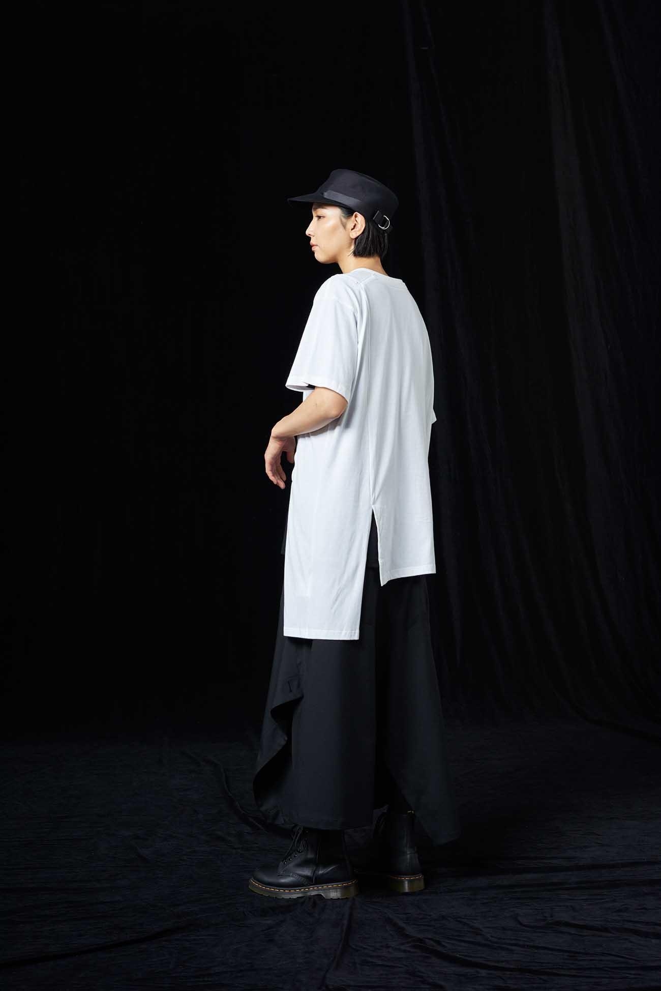 30/Cotton Jersey Asymmetric Zipper Short Sleeves Cut Sew