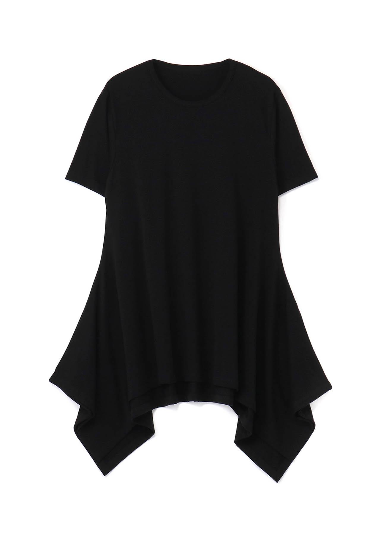 30/Cotton Jersey U-neck Drape Short Sleeves Cut Sew