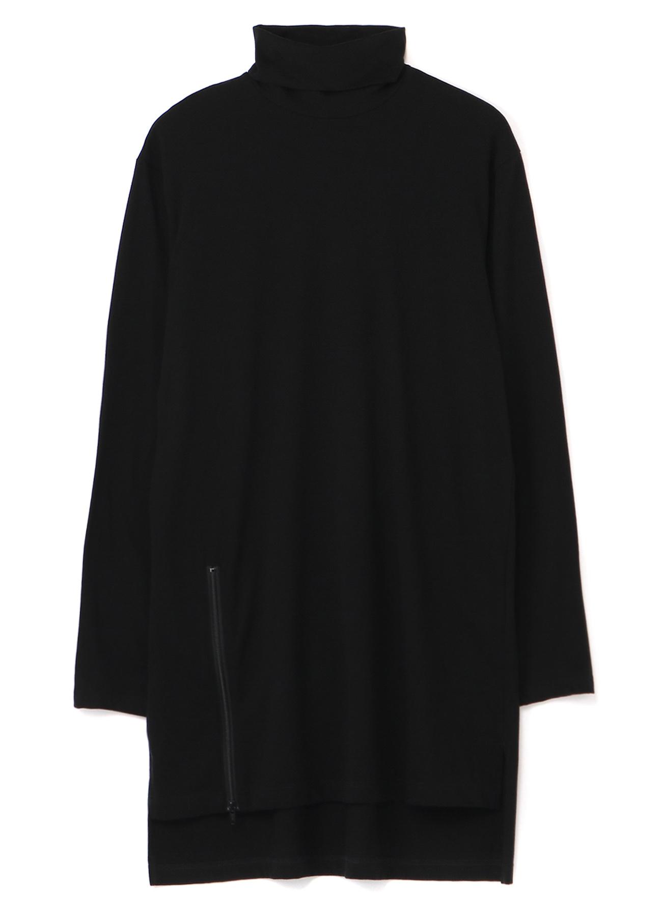 30/Cotton Jersey Zipper Opened Big Turtleneck Cut Sew
