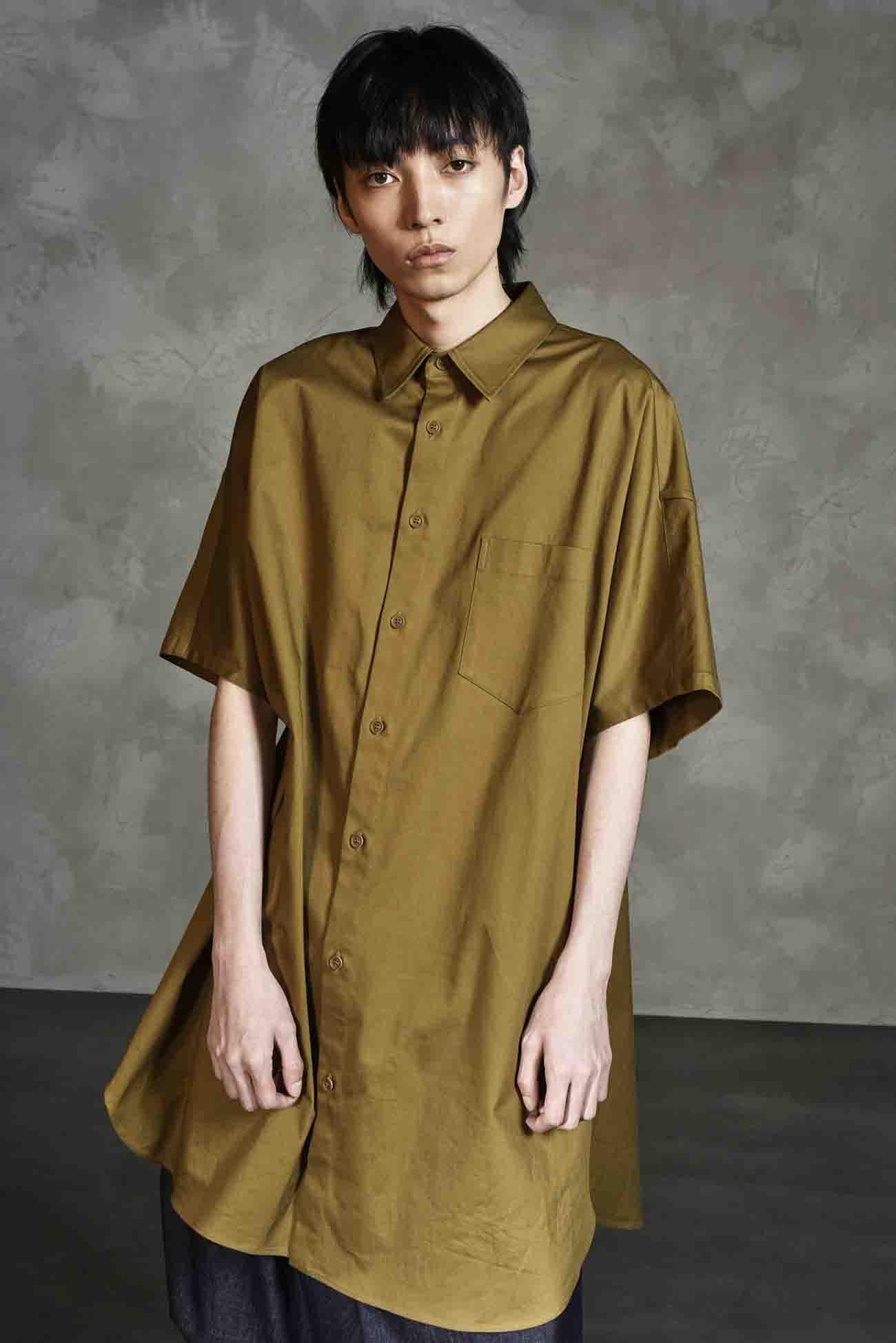 Cotton/Linen Stretch Twill Dolman Short Sleeves Long Shirt