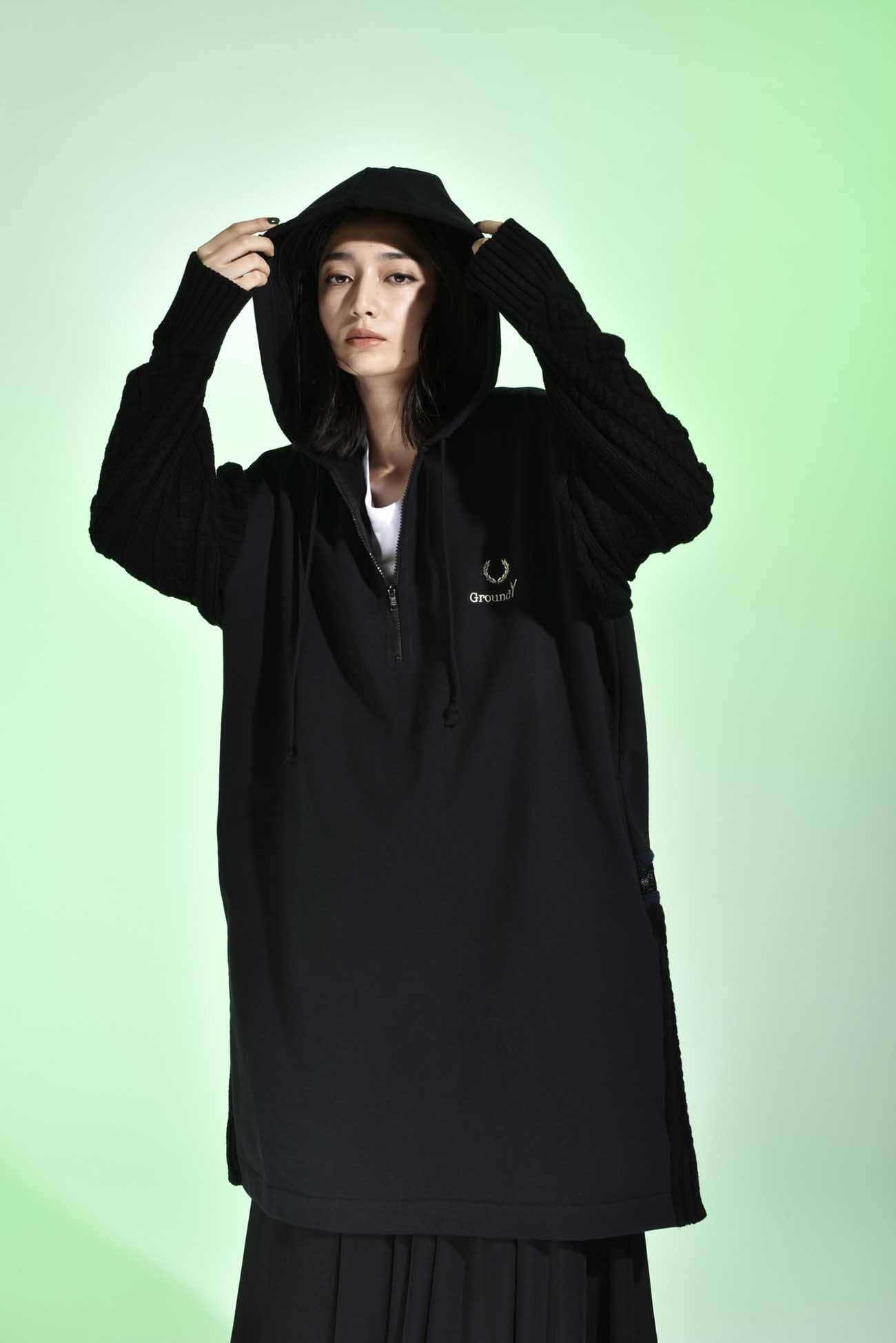 FRED PERRY collaboration Knit x Fleece Long Parka (Women's)