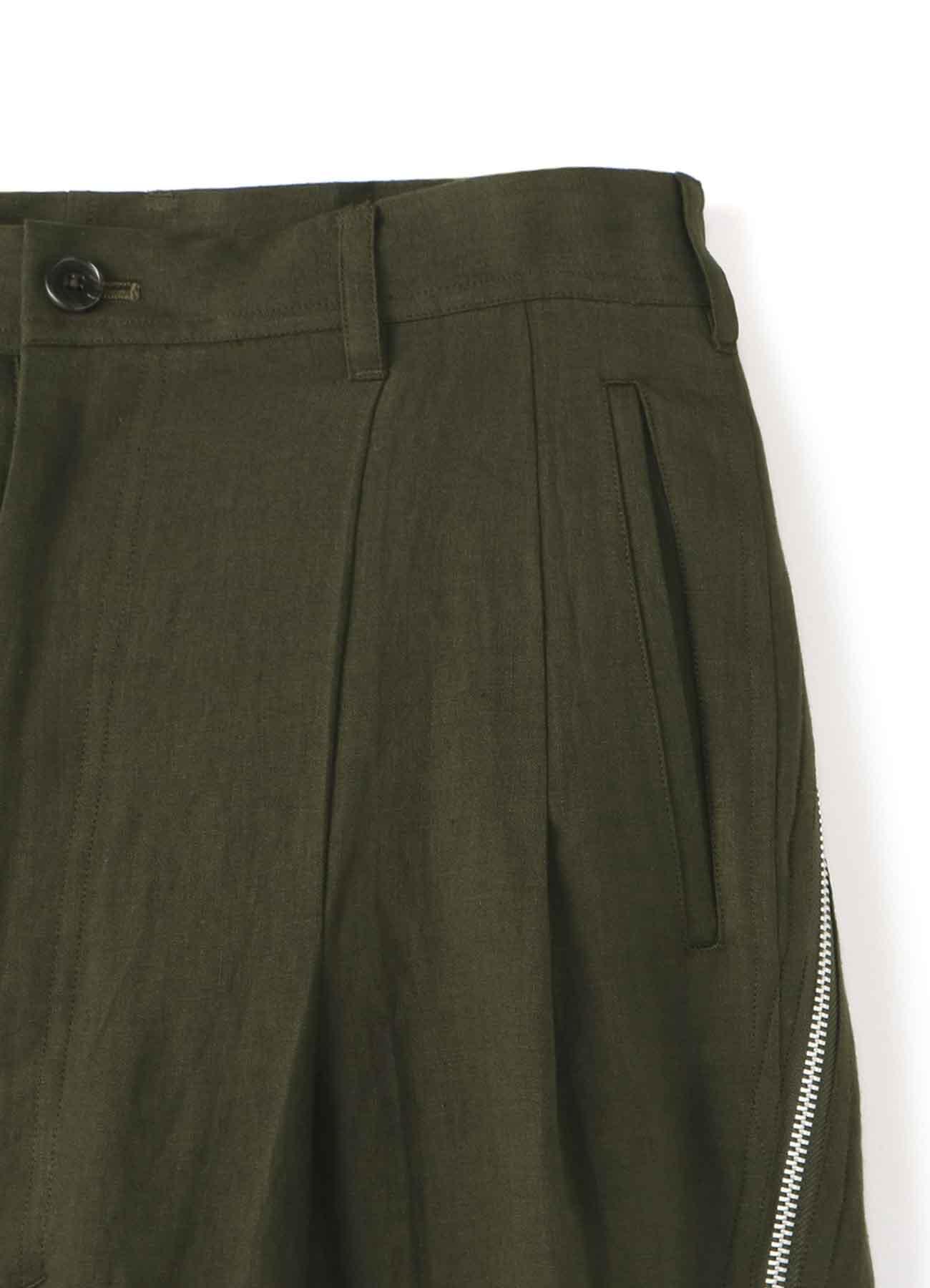 亚麻拉链装饰长裤