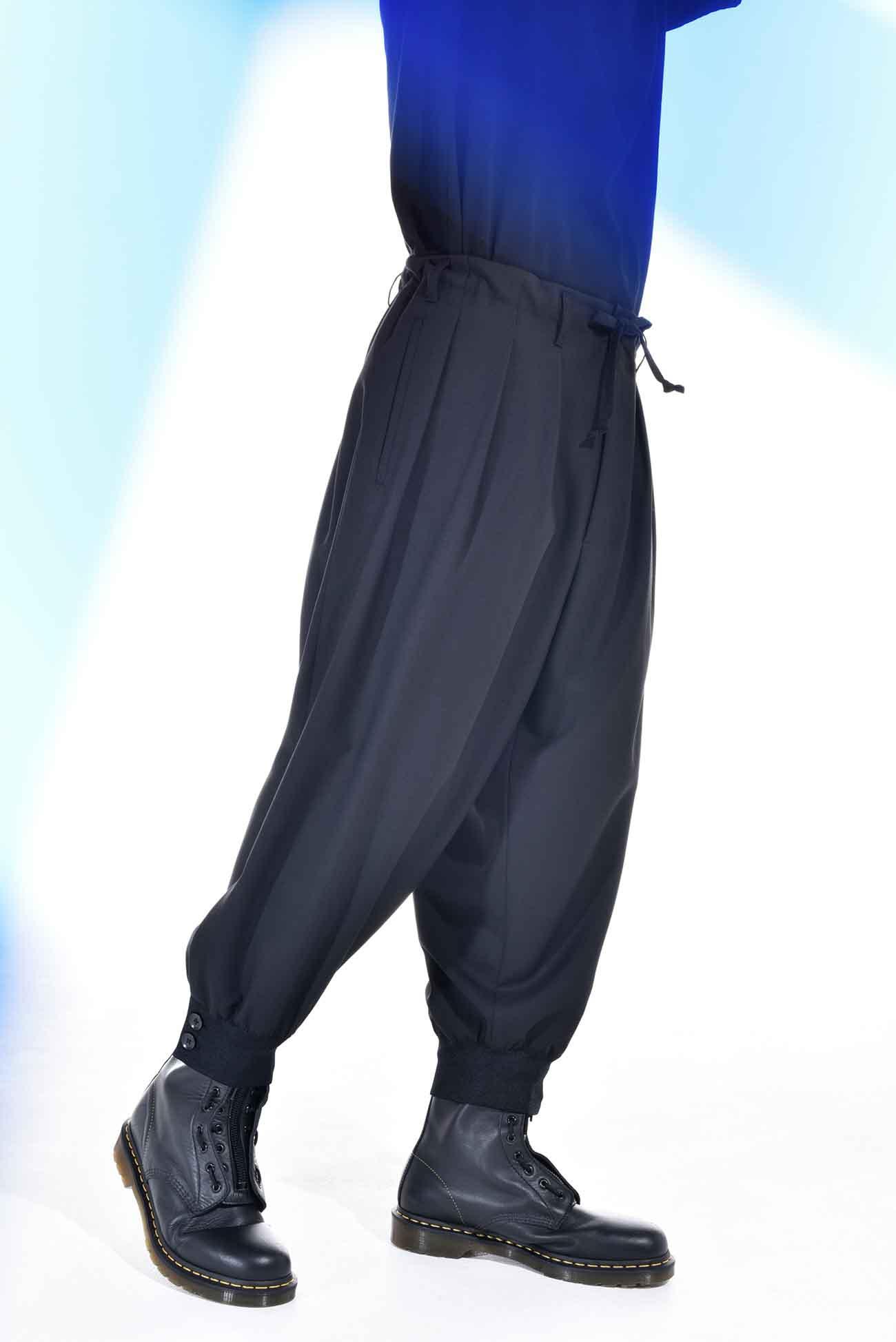 T/W Gabardine Hem Rib Balloon Pants