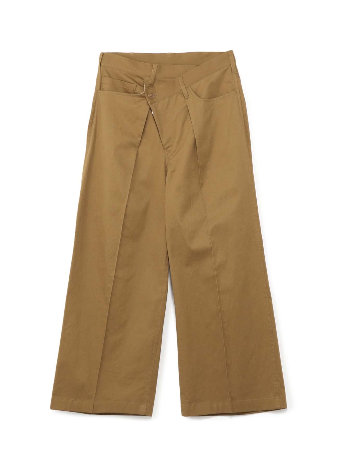 棉麻混纺错位腰身宽裤