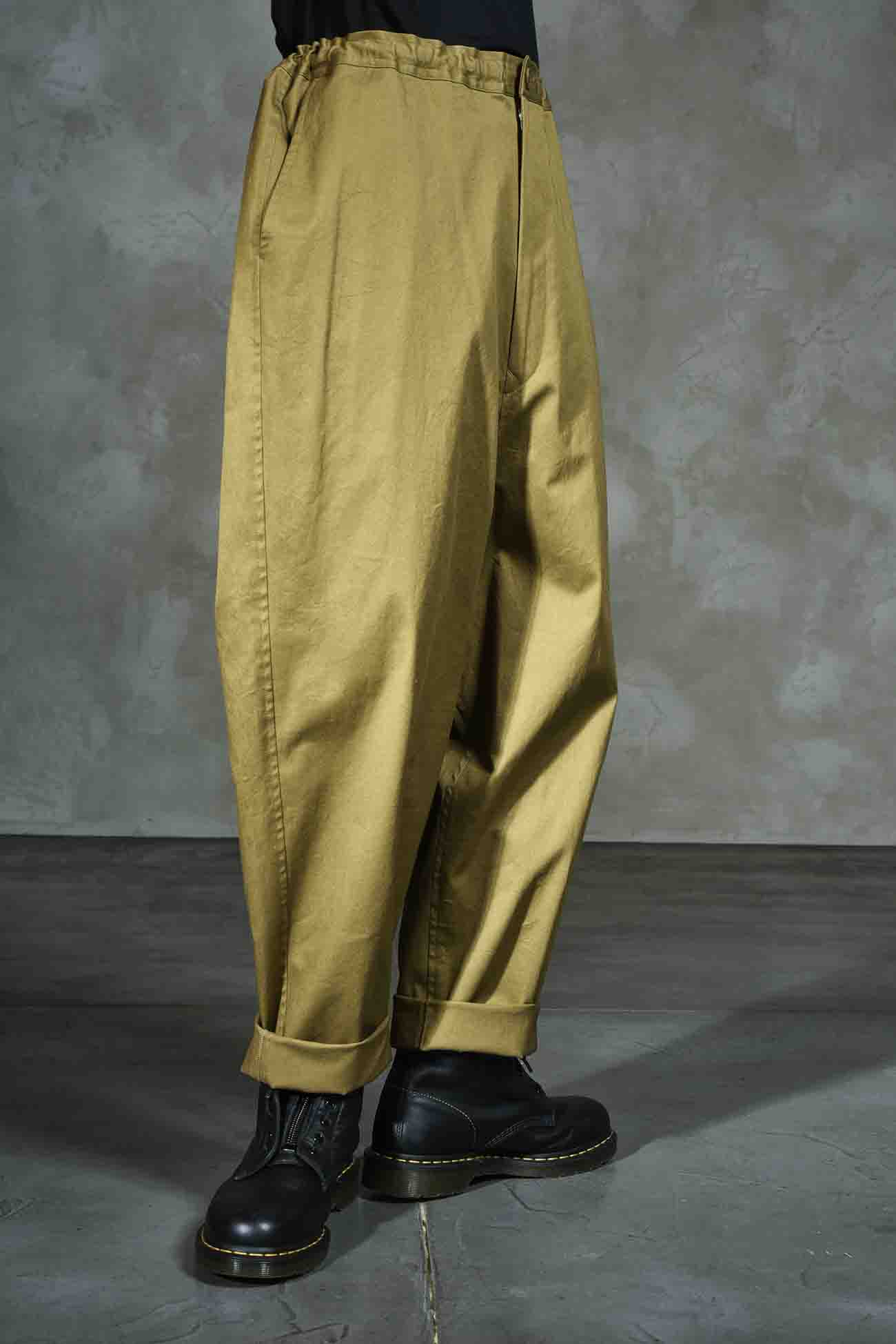 Cotton/Linen Stretch Twill Sarouel Straight Pants