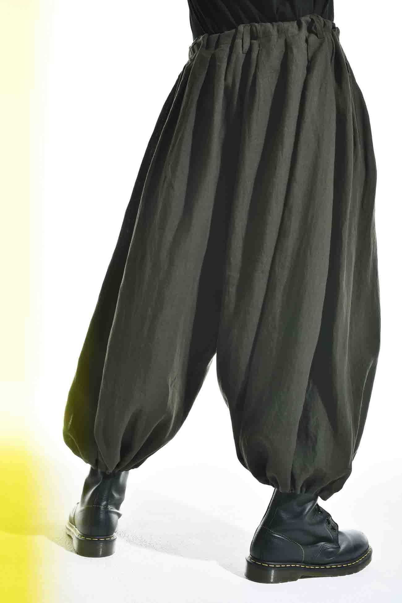 Linen Cross Slit Balloon Pants