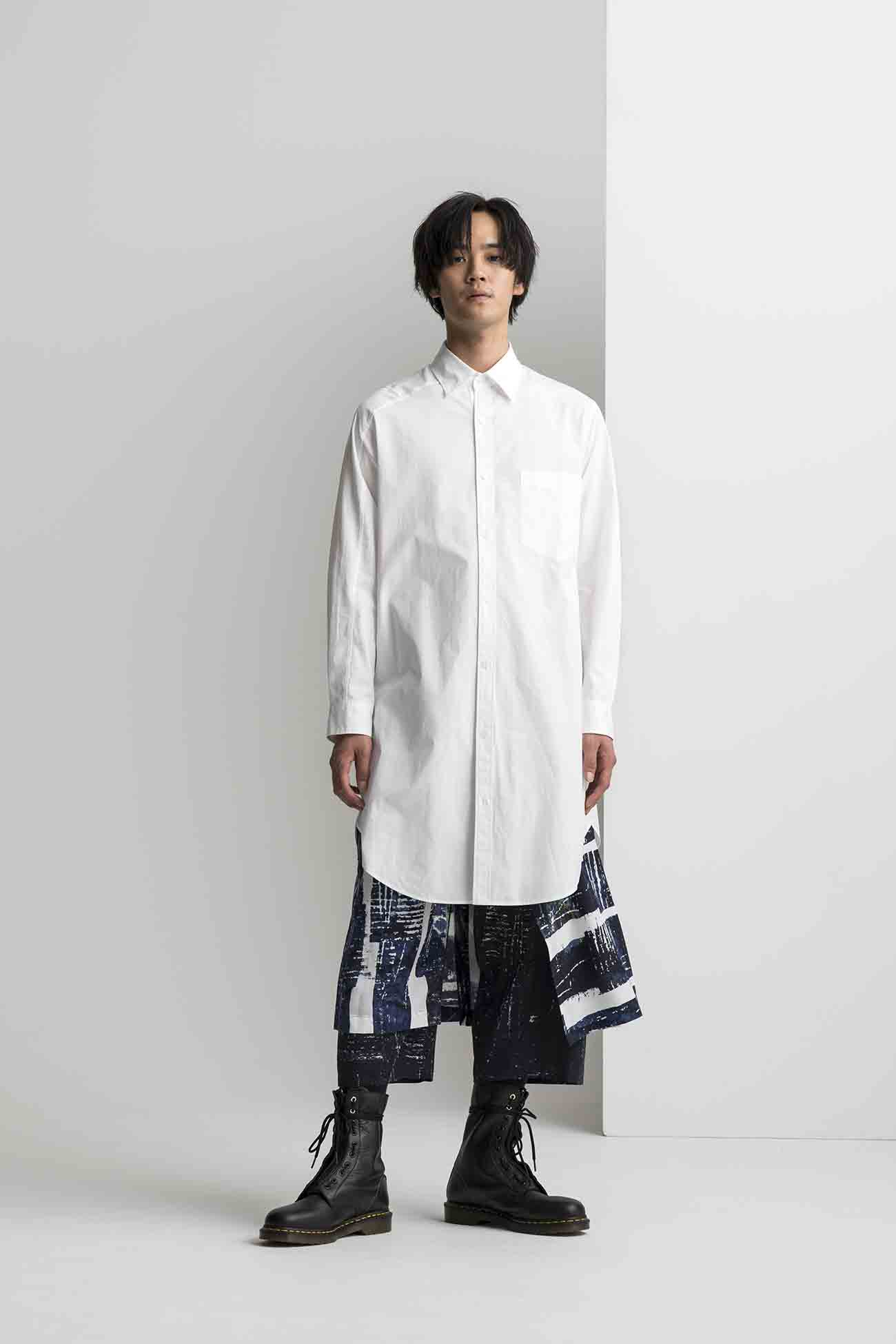 Cotton Broad Asymmetry Switching Shirt
