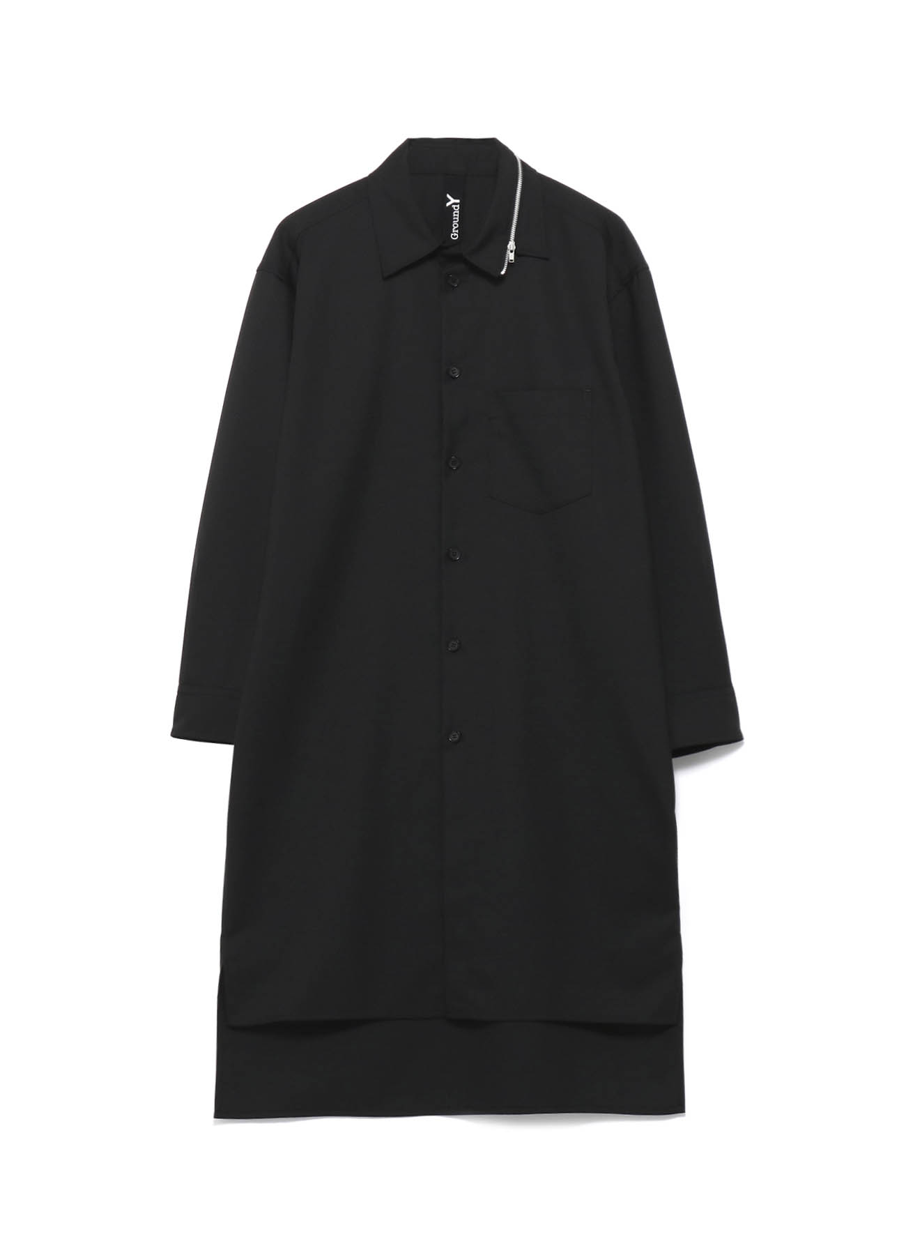 T/W Gabardine Zipper Collar Shirt