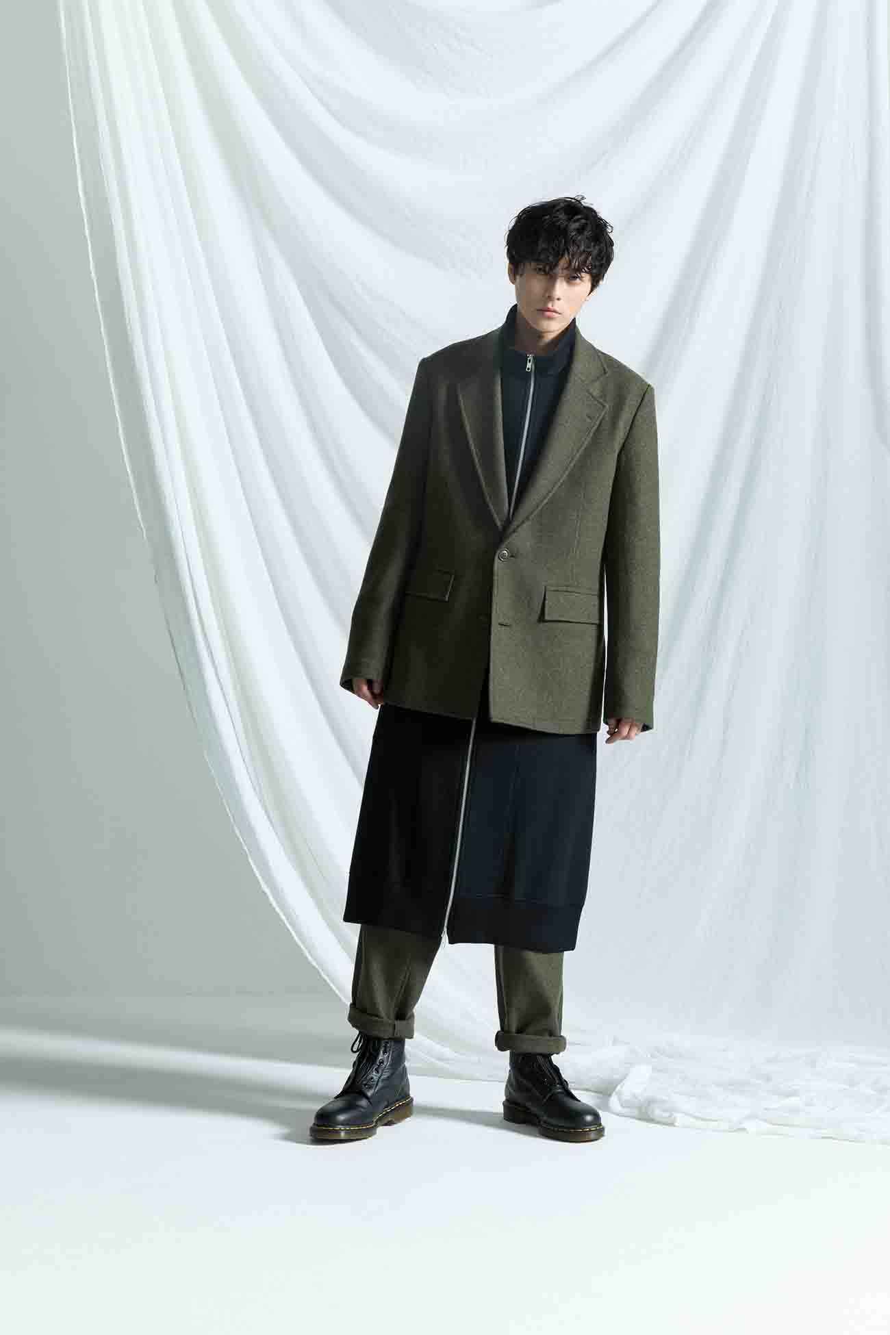 Twill Flannel Two Buttons Single Jacket