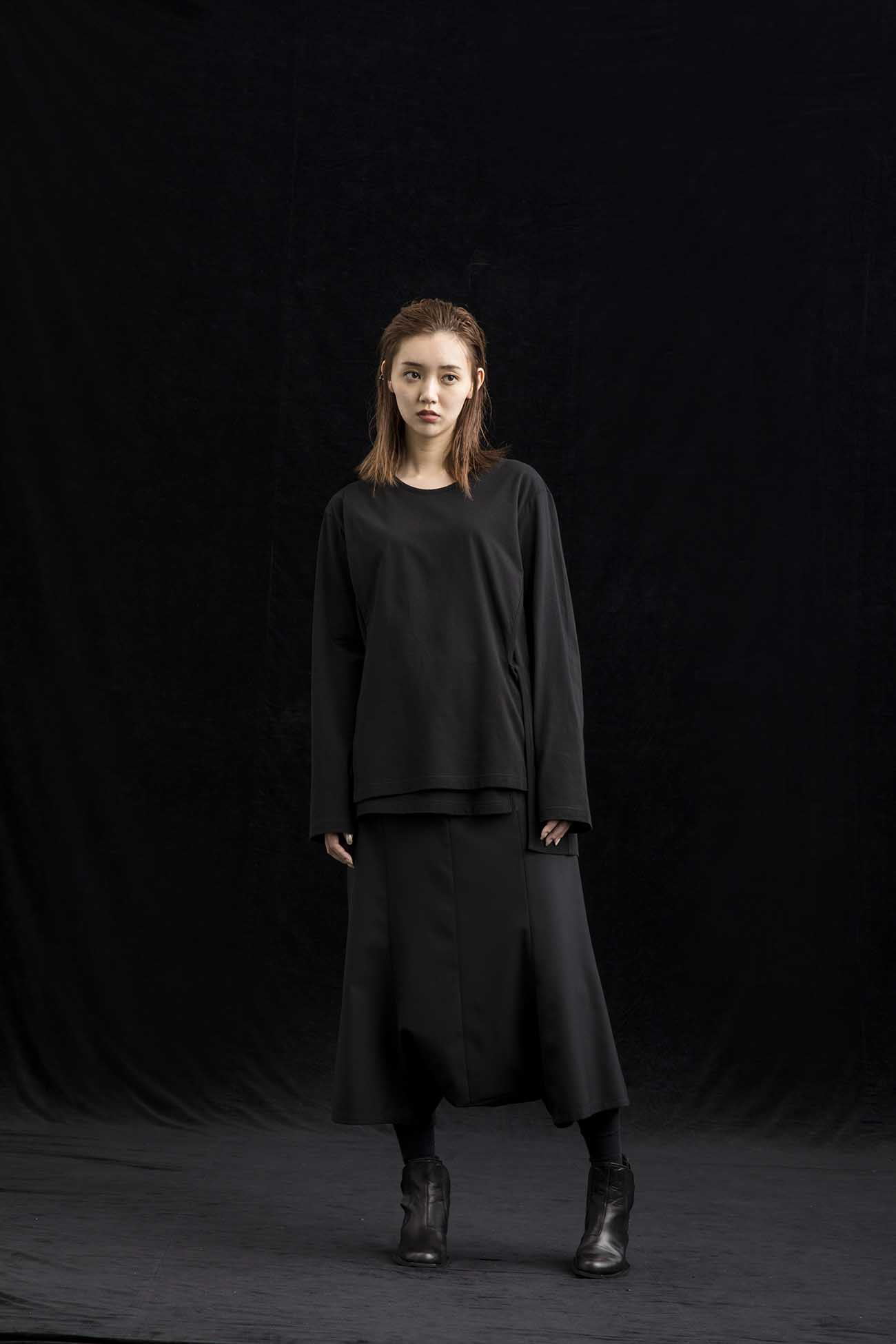 Cotton Jersey Front Double Cross T Long Sleeves
