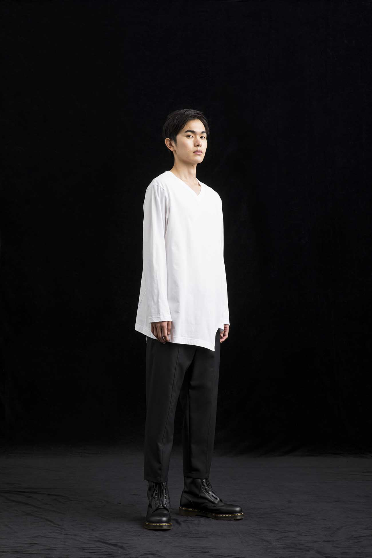 Cotton Jersey V Neck T Long Sleeves