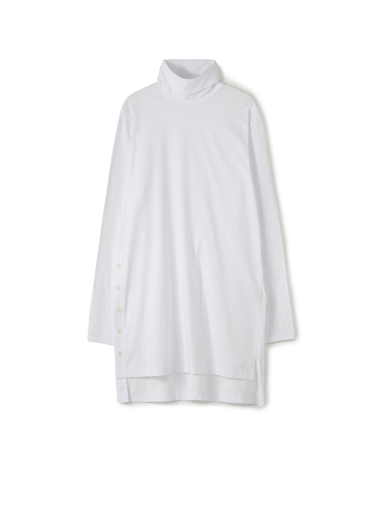 Cotton Jersey Turtle Neck T With Right Buttons