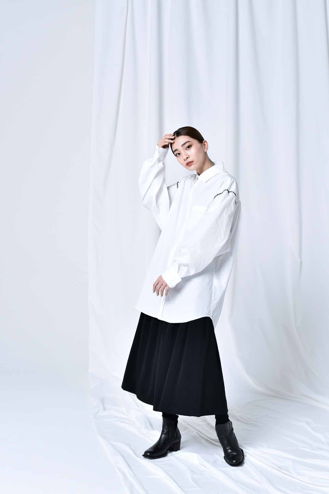 100/2 Cotton Broad Embroidery Big Sleeves Shirt