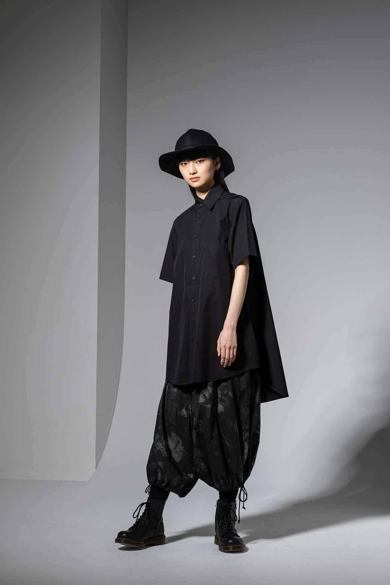100/2 Cotton Broad Collar Cutoff Short Sleeves Shirt