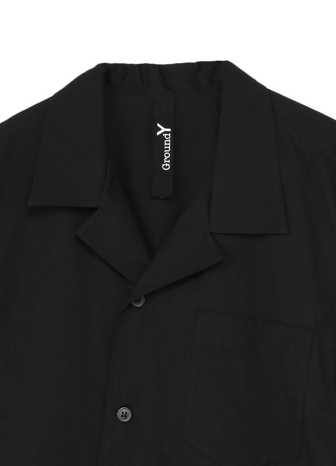 100/2 Cotton Broad Asymmetry Short Sleeves Open Collar Shirt