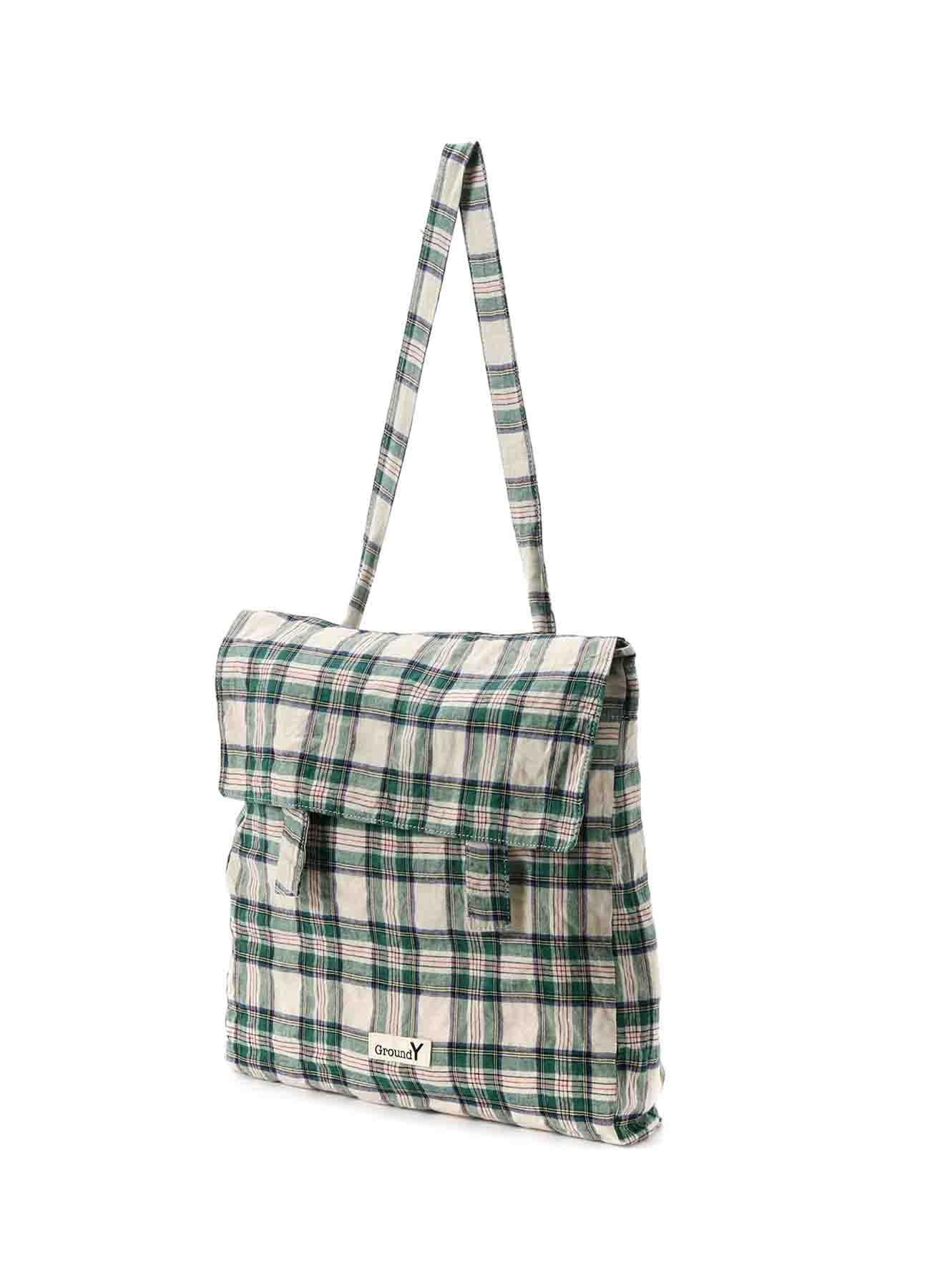 Check Stretch Flap Pocket Bag