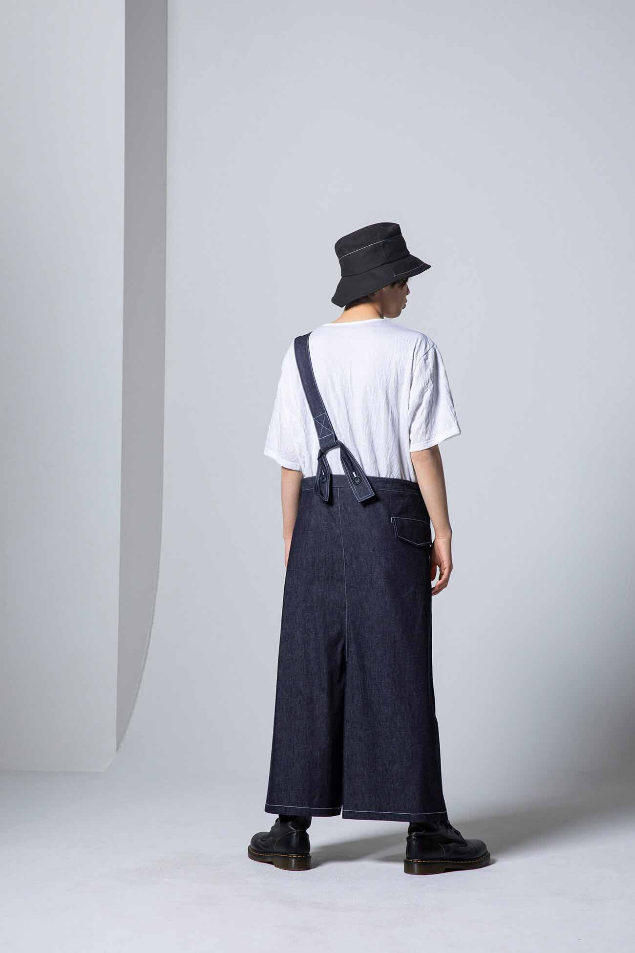 6oz Denim Shoulder High Asymmetry Pants