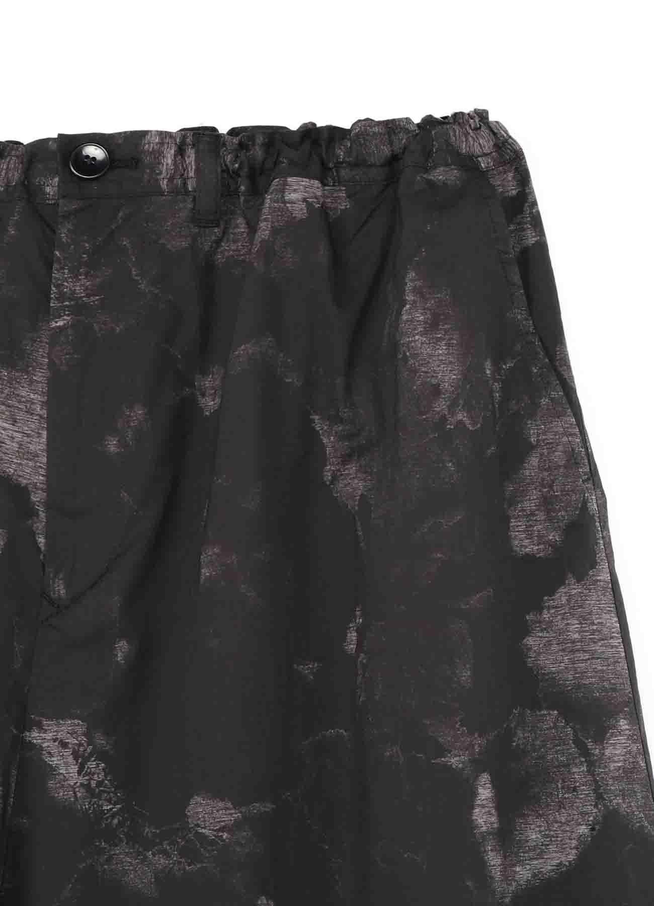 Flower Print Drawstring Asymmetry Pants