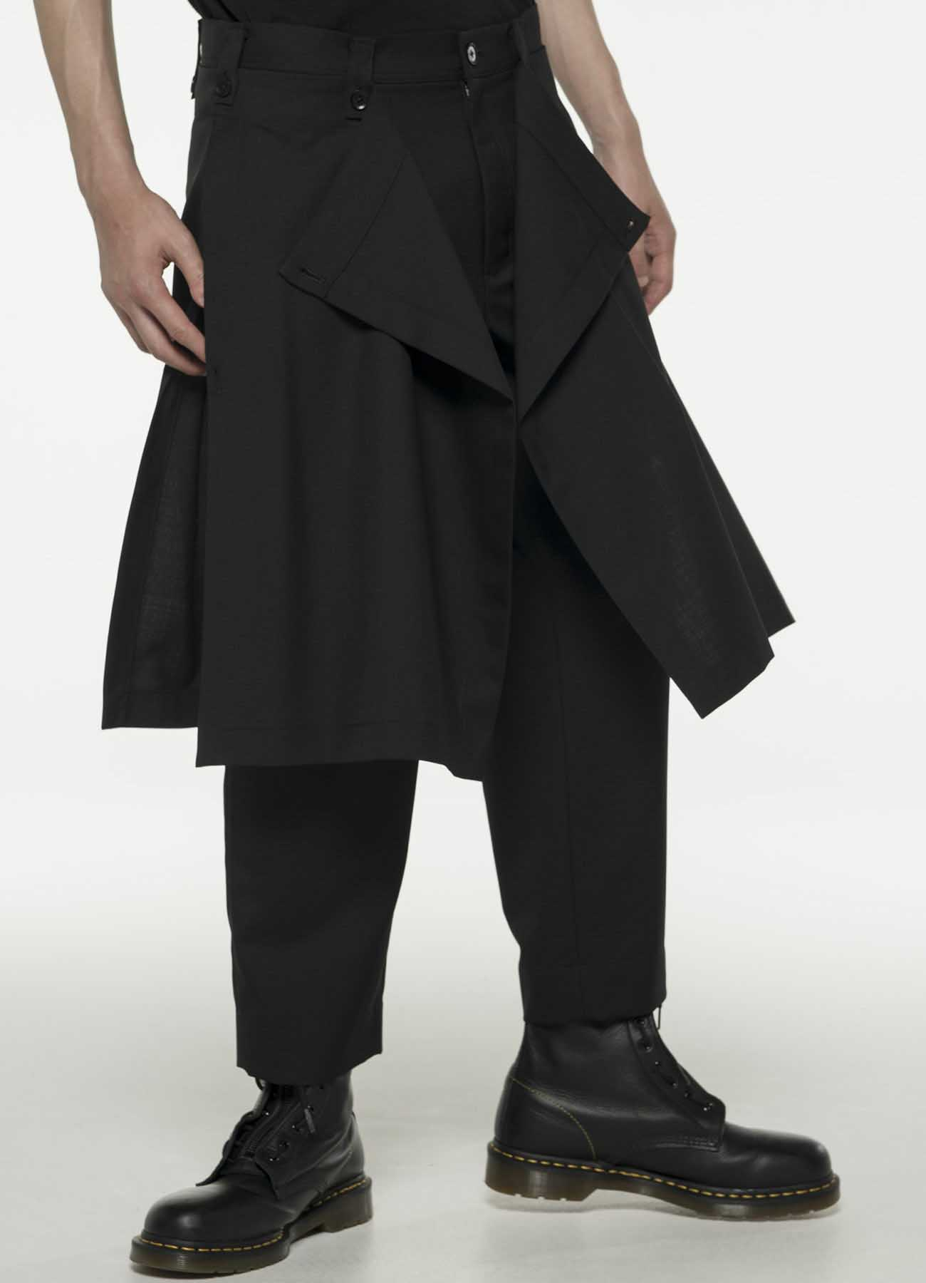 Classic W/E Gabardine Serge Tuck Pants with Skirt Attached