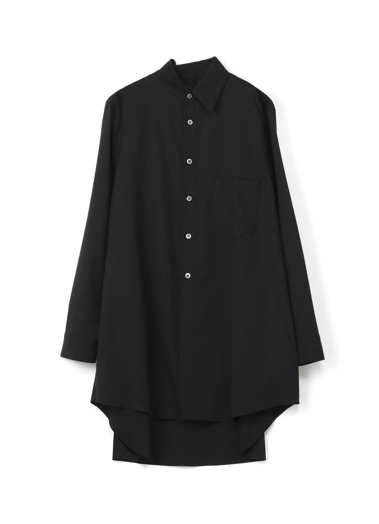 羊毛哔叽破洞领衬衫