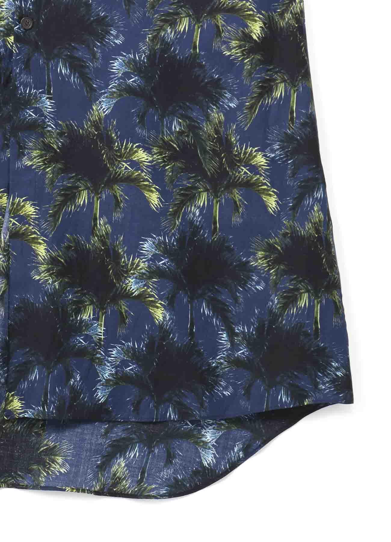 棕榈树印花长款短袖衬衫