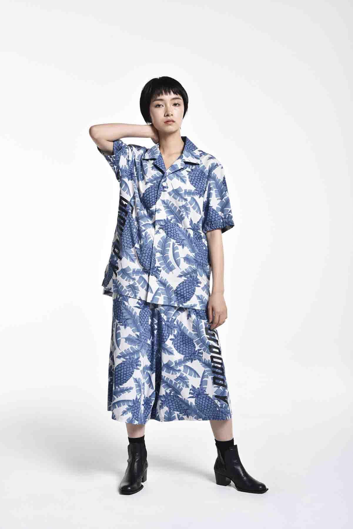 菠萝印花短袖衬衫