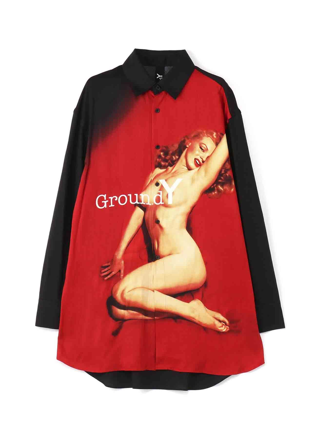 玛丽莲·梦露(Marilyn Monroe)协作人造丝+棉亚麻常规衬衫