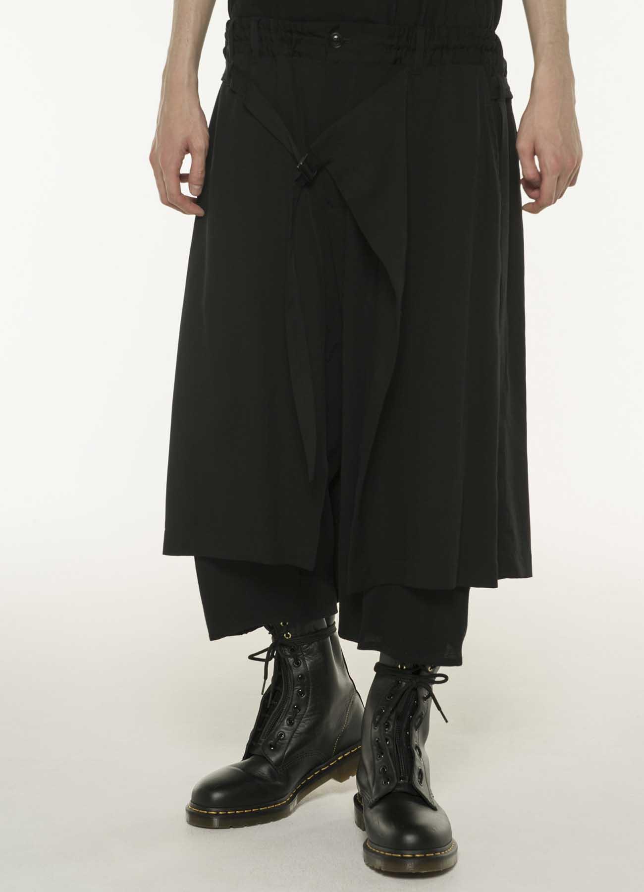 叠穿风人造丝七分裤