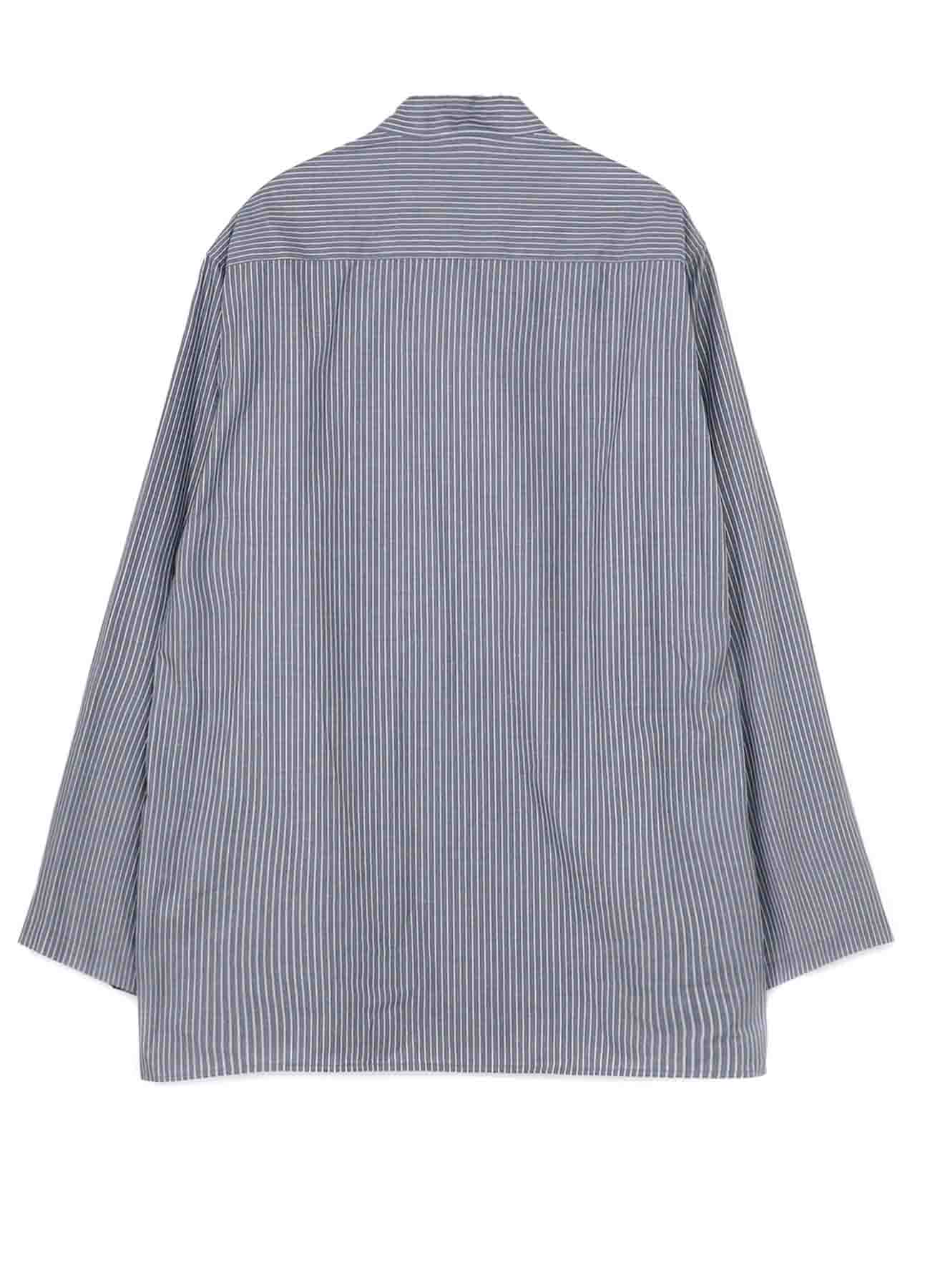 COTTON/STRIPE SLEEVE SIDE BUTTON STAND BLOUSE