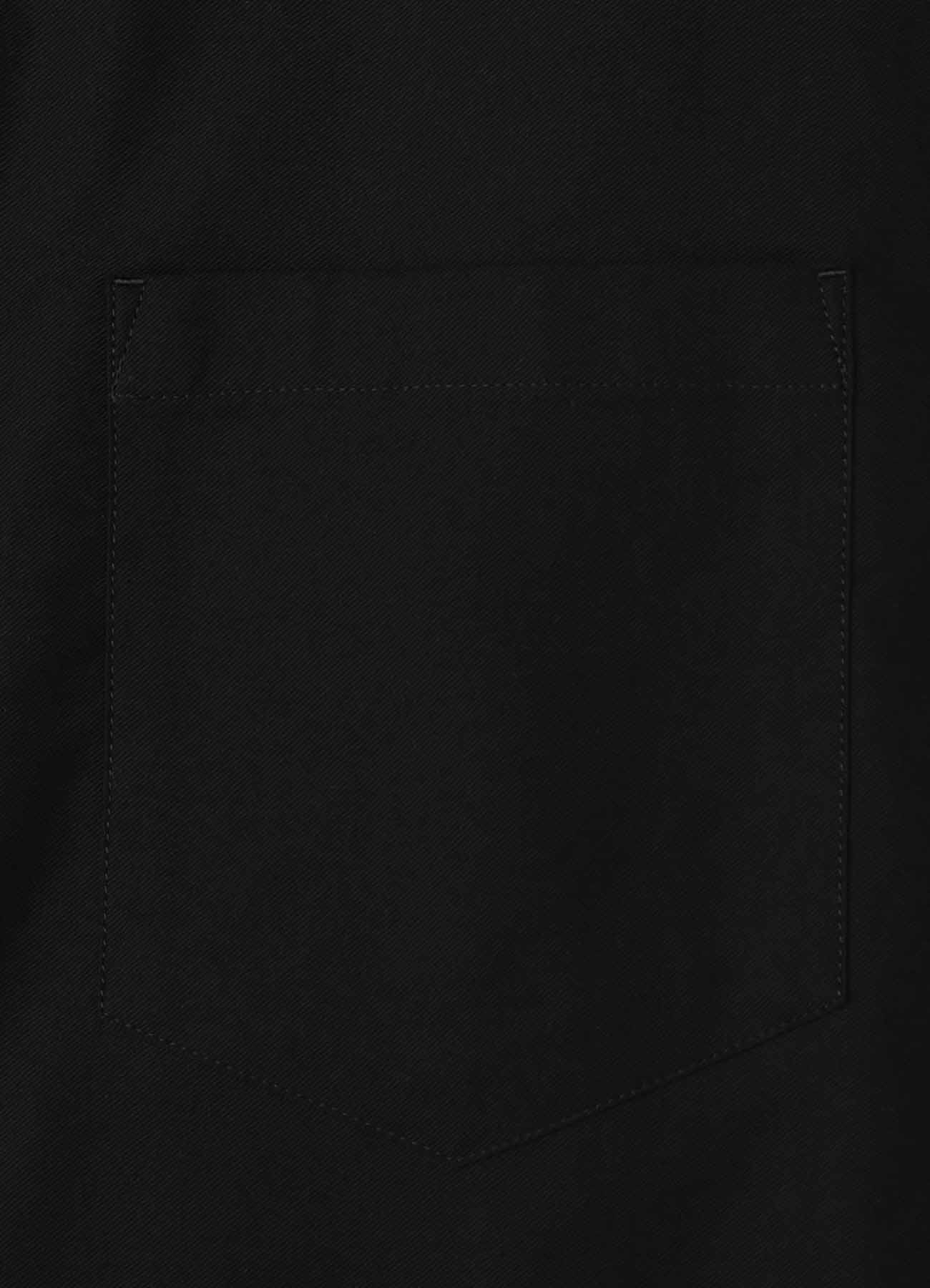 BLACK PATCH TWILL SIDE HEM GUSSET BLOUSE