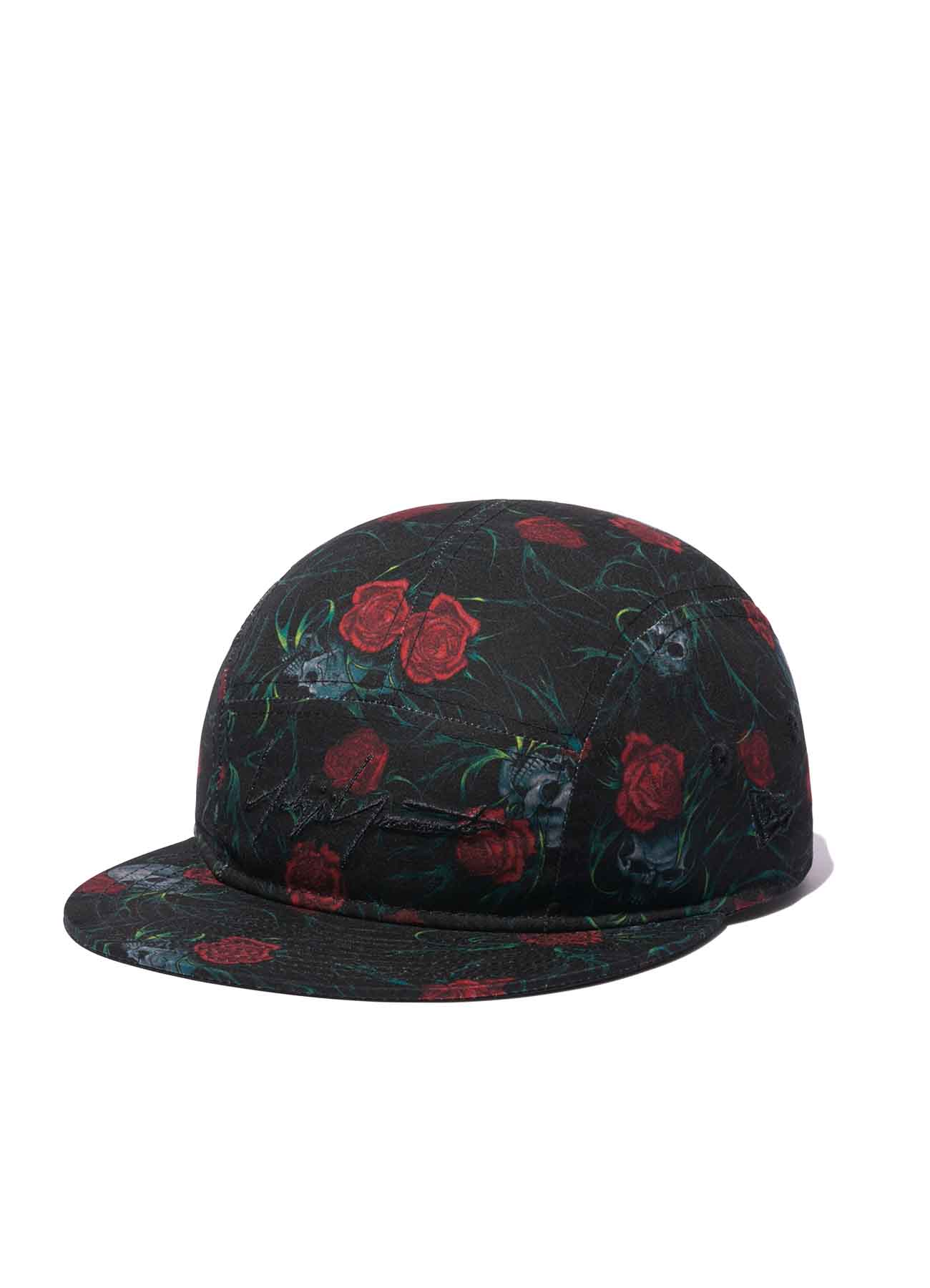 Yohji Yamamoto × New Era POLYESTER TRANSCRIPTION PRINT SKULL ROSE JET CAP BLACK RED