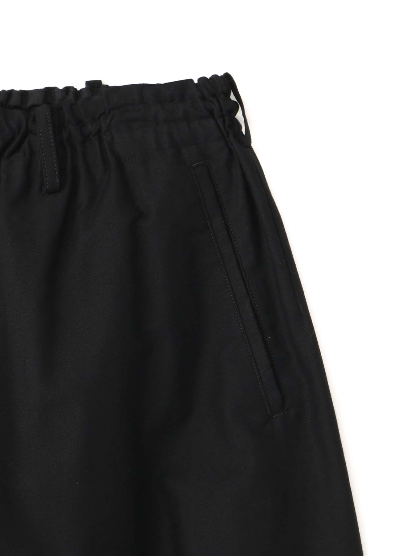 BLACK C/TWILL BUTTON OPEN PANTS