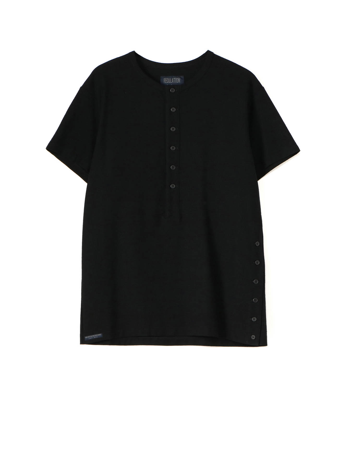 REGULATION COTTON SEERSUCKER PATCH HENLEY NECK HALF SLEEVES