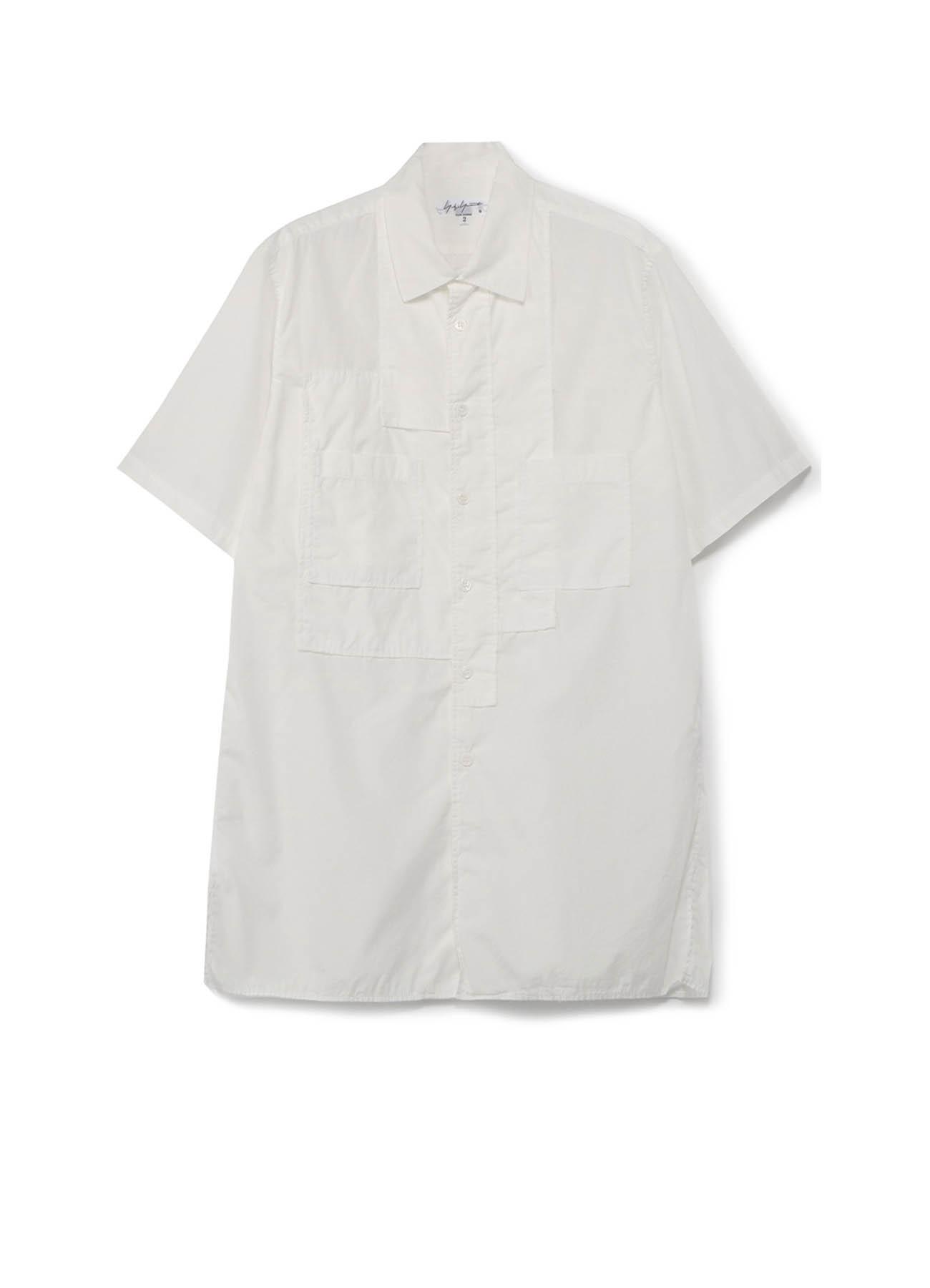 環縫いブロード 半袖パッチワークシャツ
