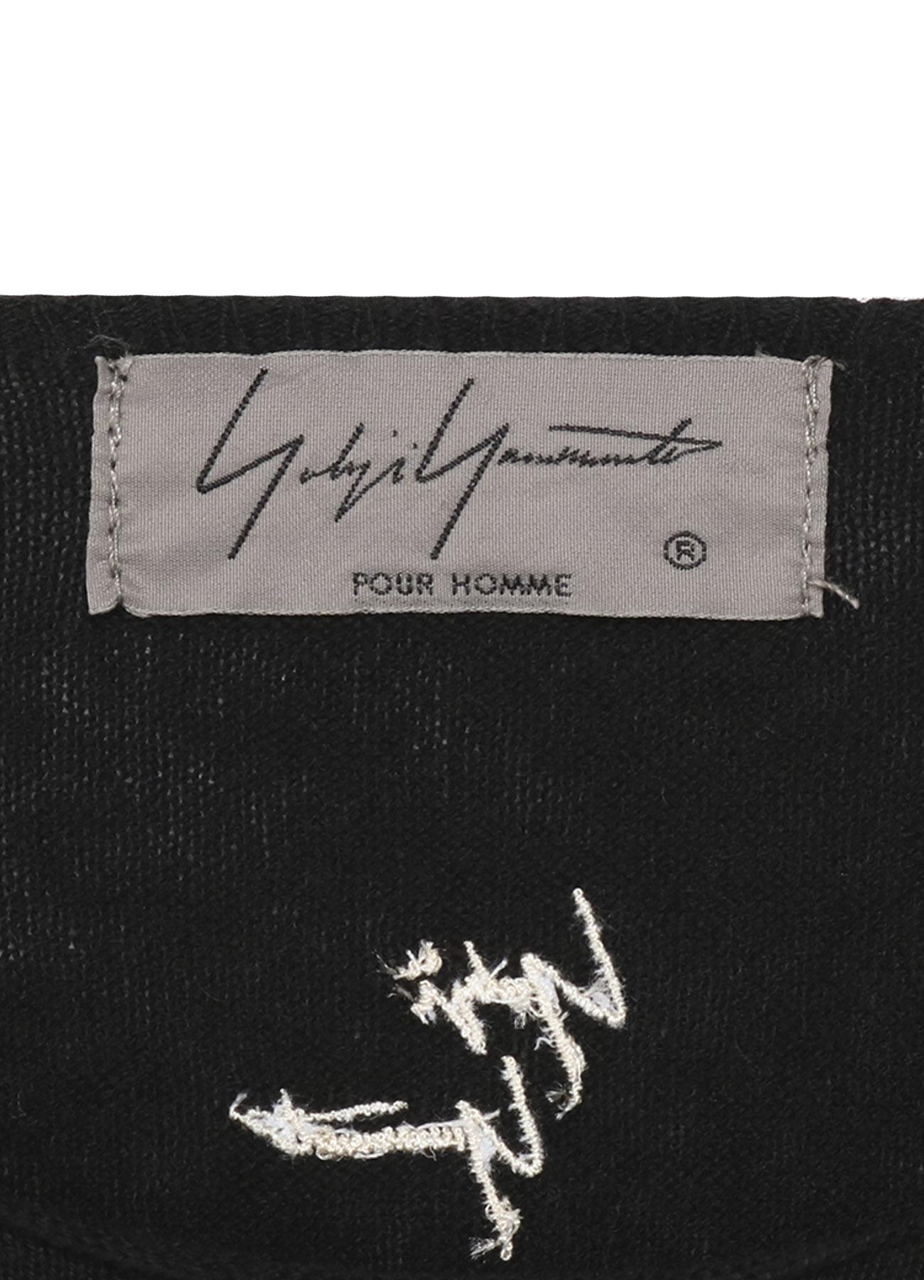 14G綿カシミヤ ロゴ刺繍プルオーバー