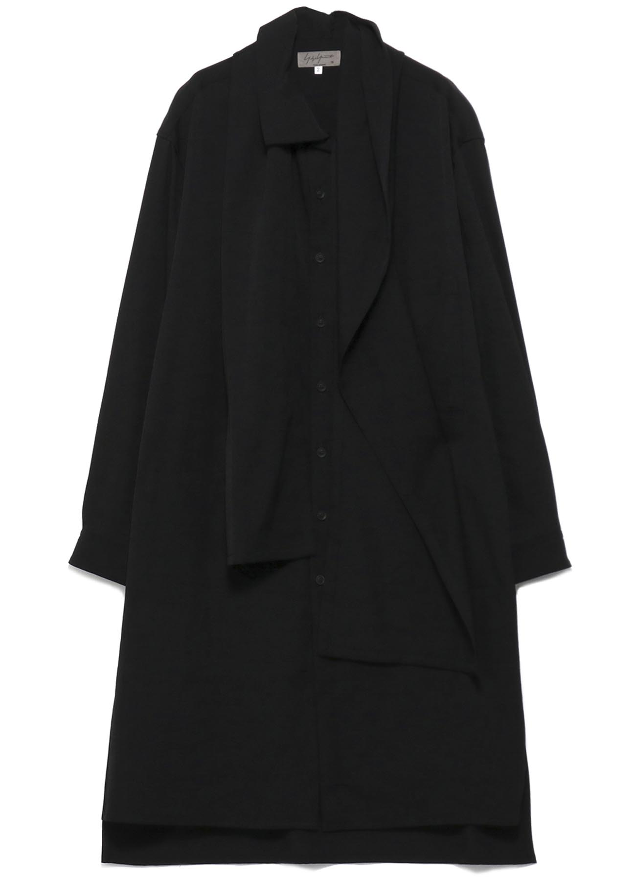 GABARDINE COLLAR STOLE INNER POCKET BLOUSE