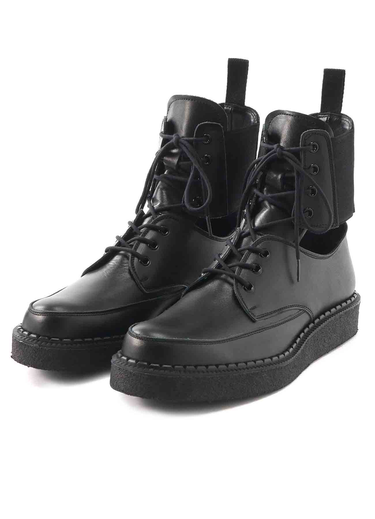 BLACK SMOOTH LEATHER SIDE GORE RUBBER SOLE BOOTS