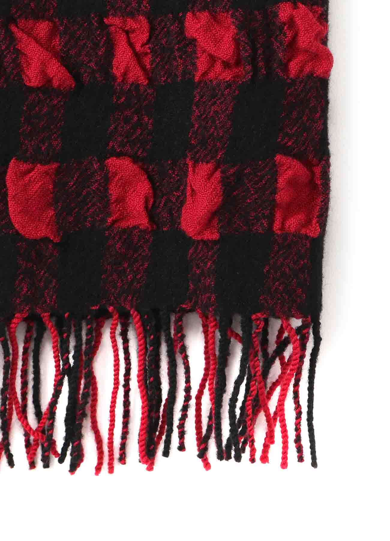 SHRINK RESIST WOOL PLAID MUFFLER