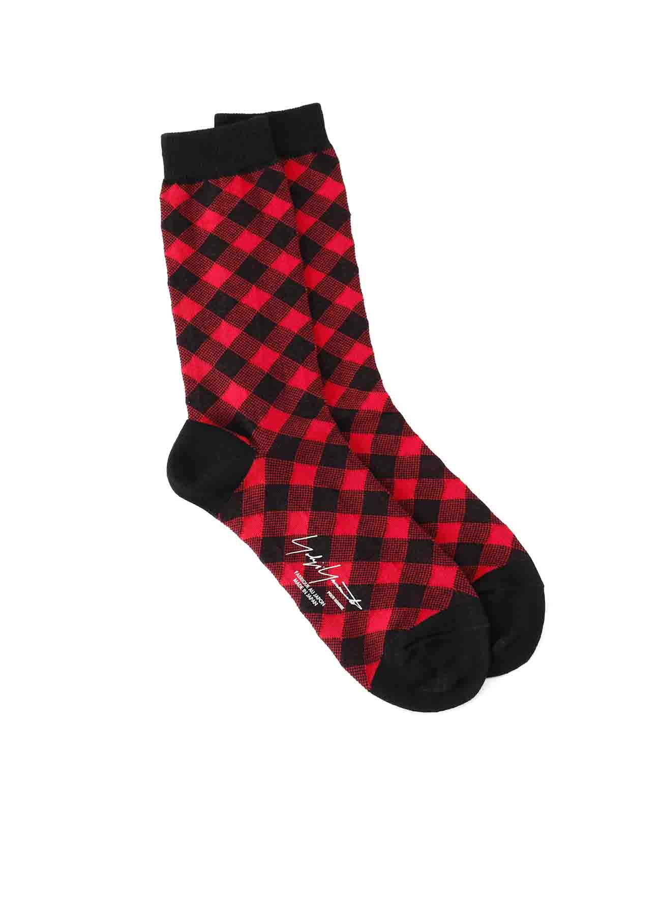 C/AC PLAIN STITCH BIAS PLAID SOCKS